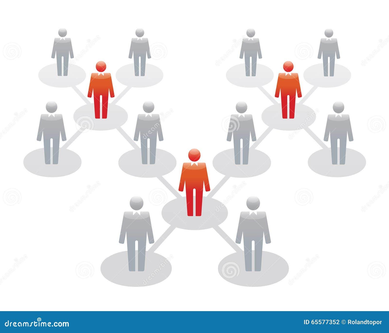 Ícones humanos Ilustração do vetor Equipe e líder do escritório