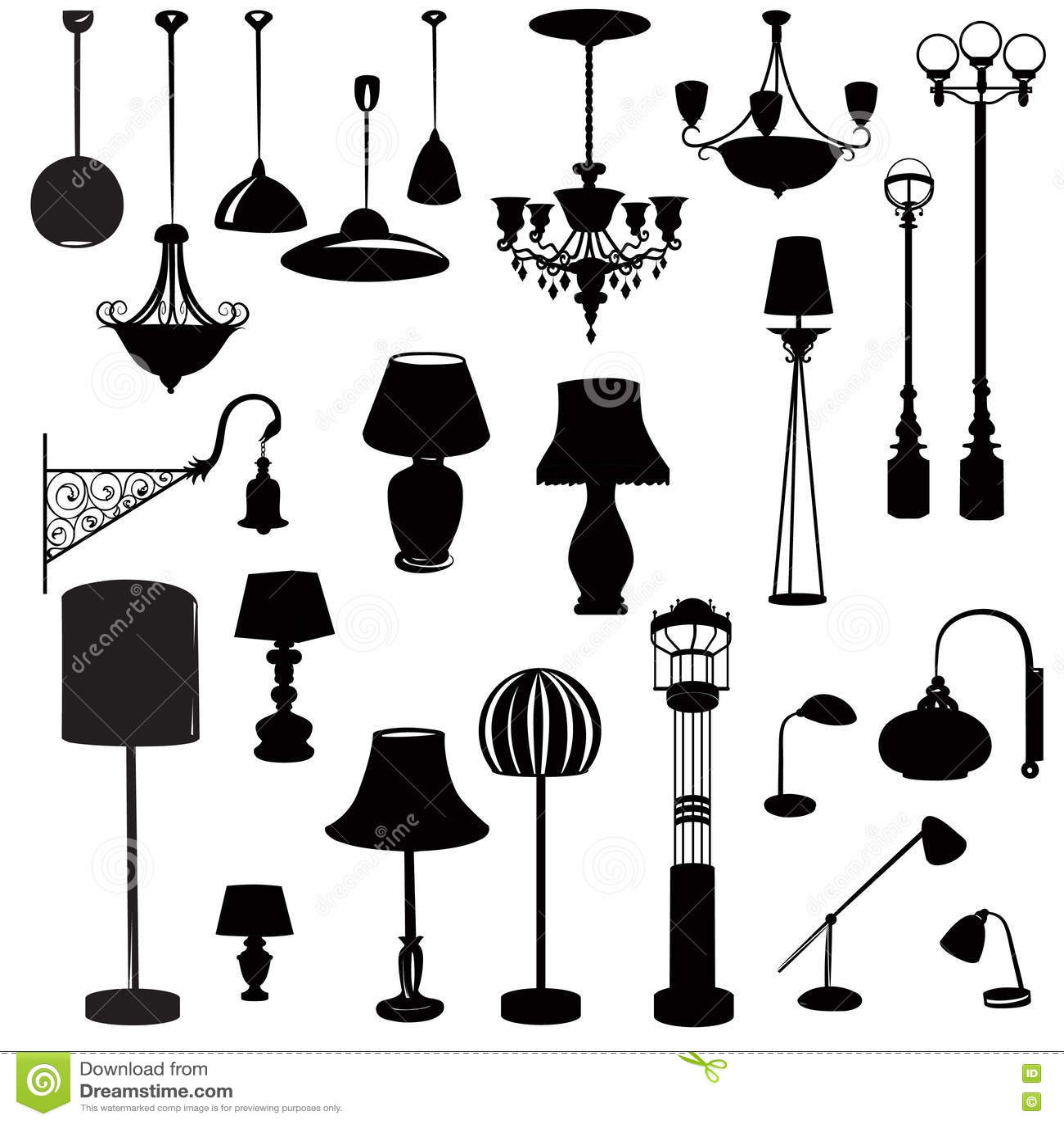 Ícones interiores da mobília Grupo do ícone da silhueta da lâmpada do teto