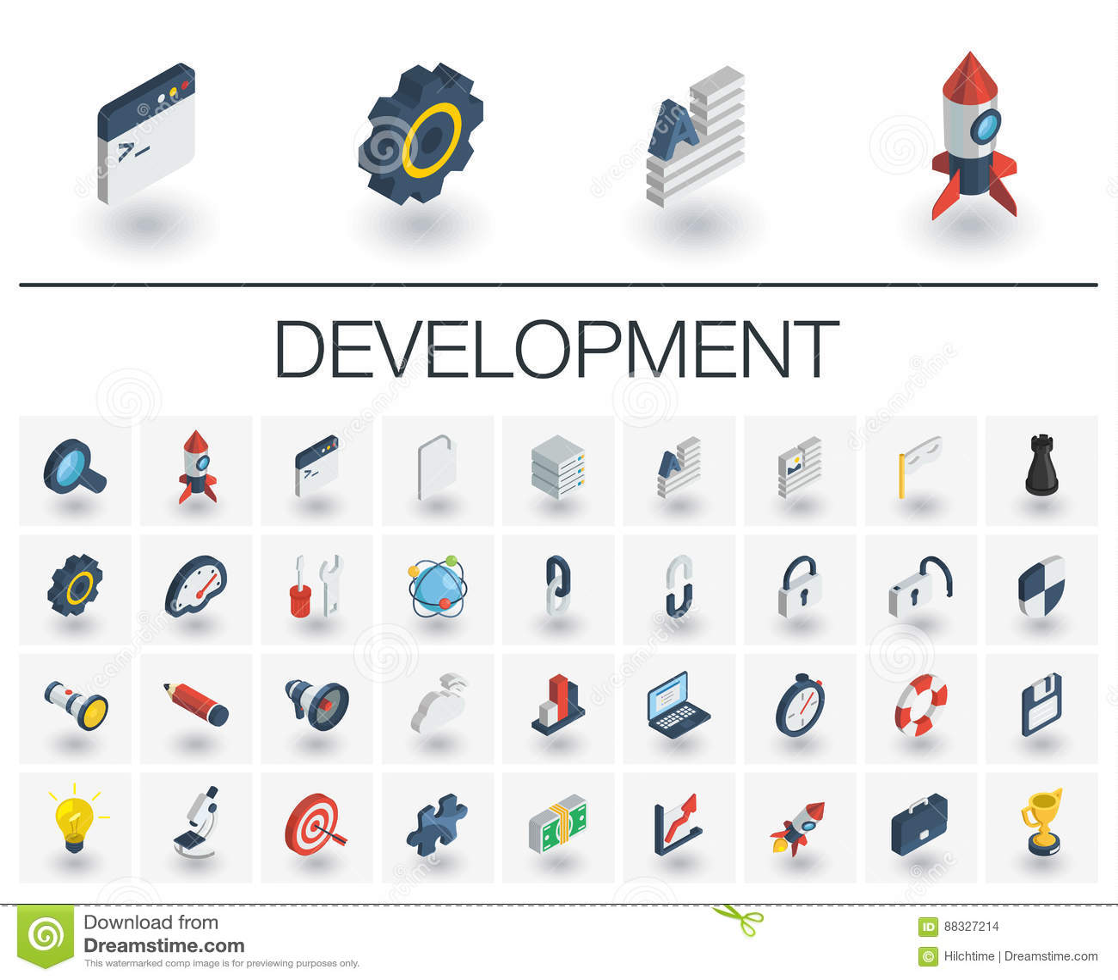 Ícones isométricos do desenvolvimento da Web e do App vetor 3d