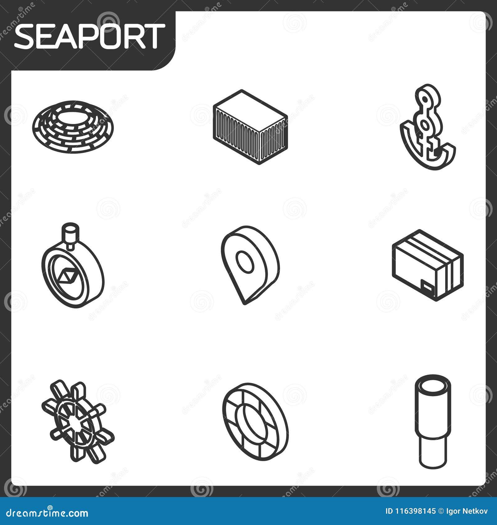 Ícones isométricos do esboço do porto