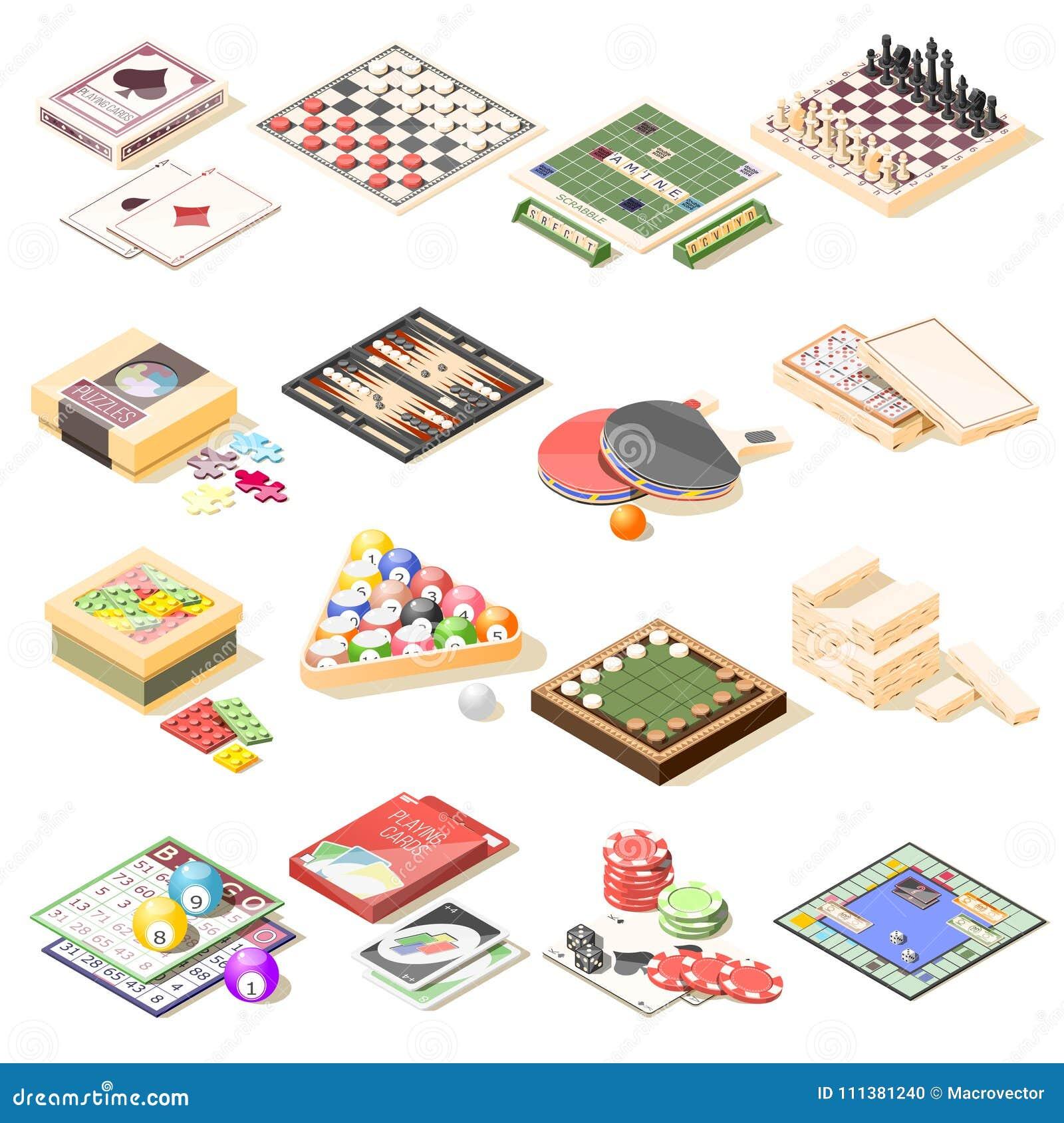 Ícones isométricos dos jogos de mesa ajustados