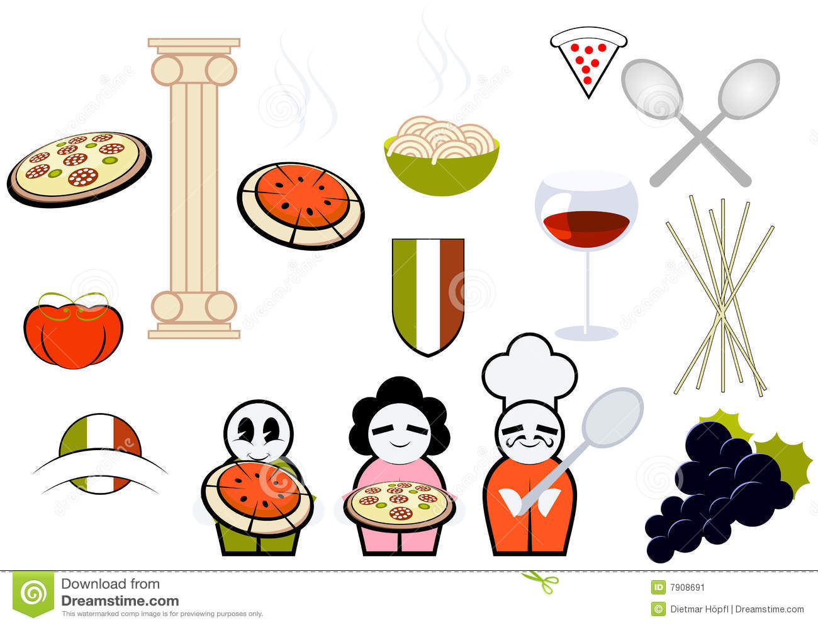 Ícones italianos do alimento & do cozimento