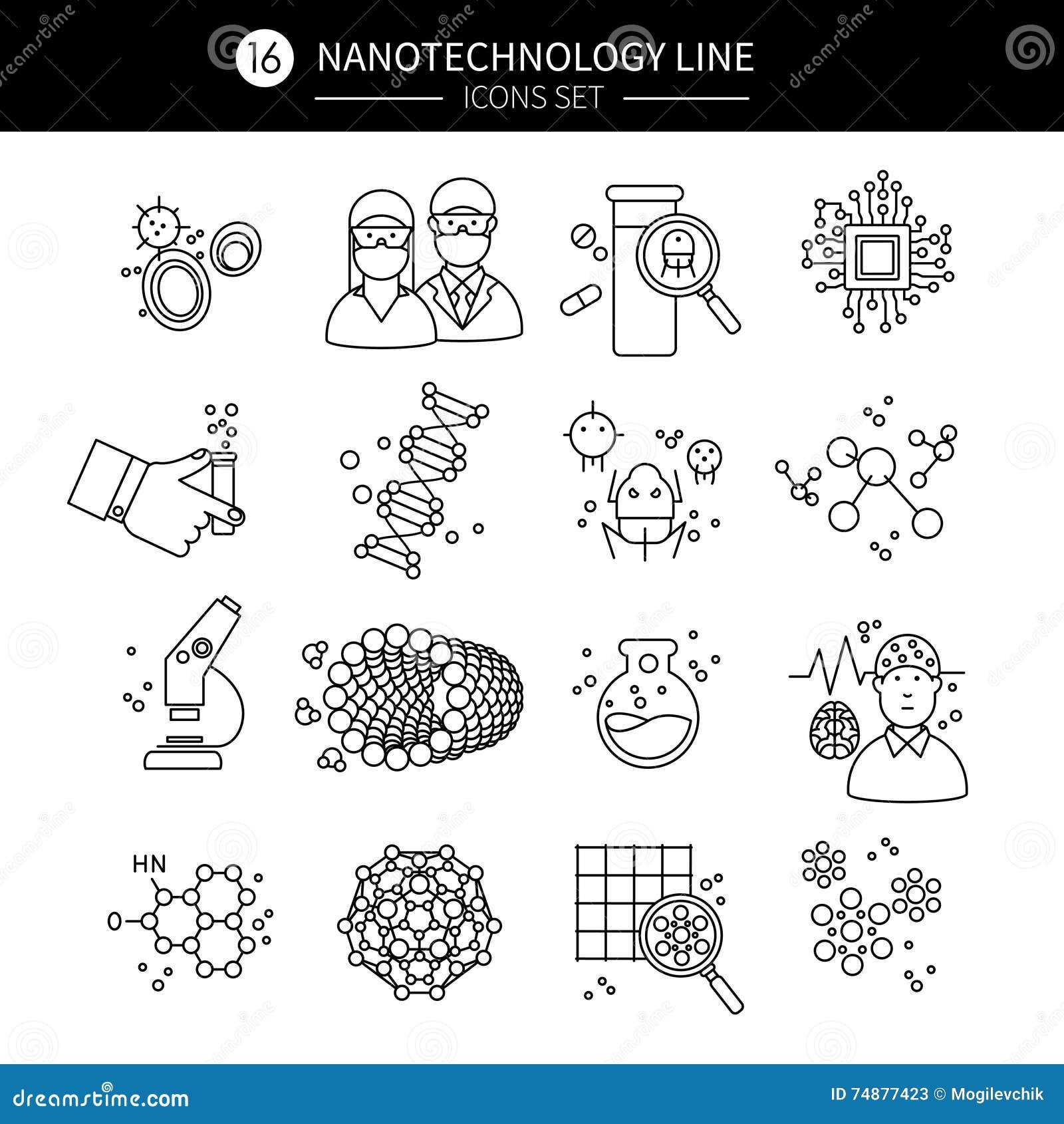 Ícones lineares da nanotecnologia ajustados