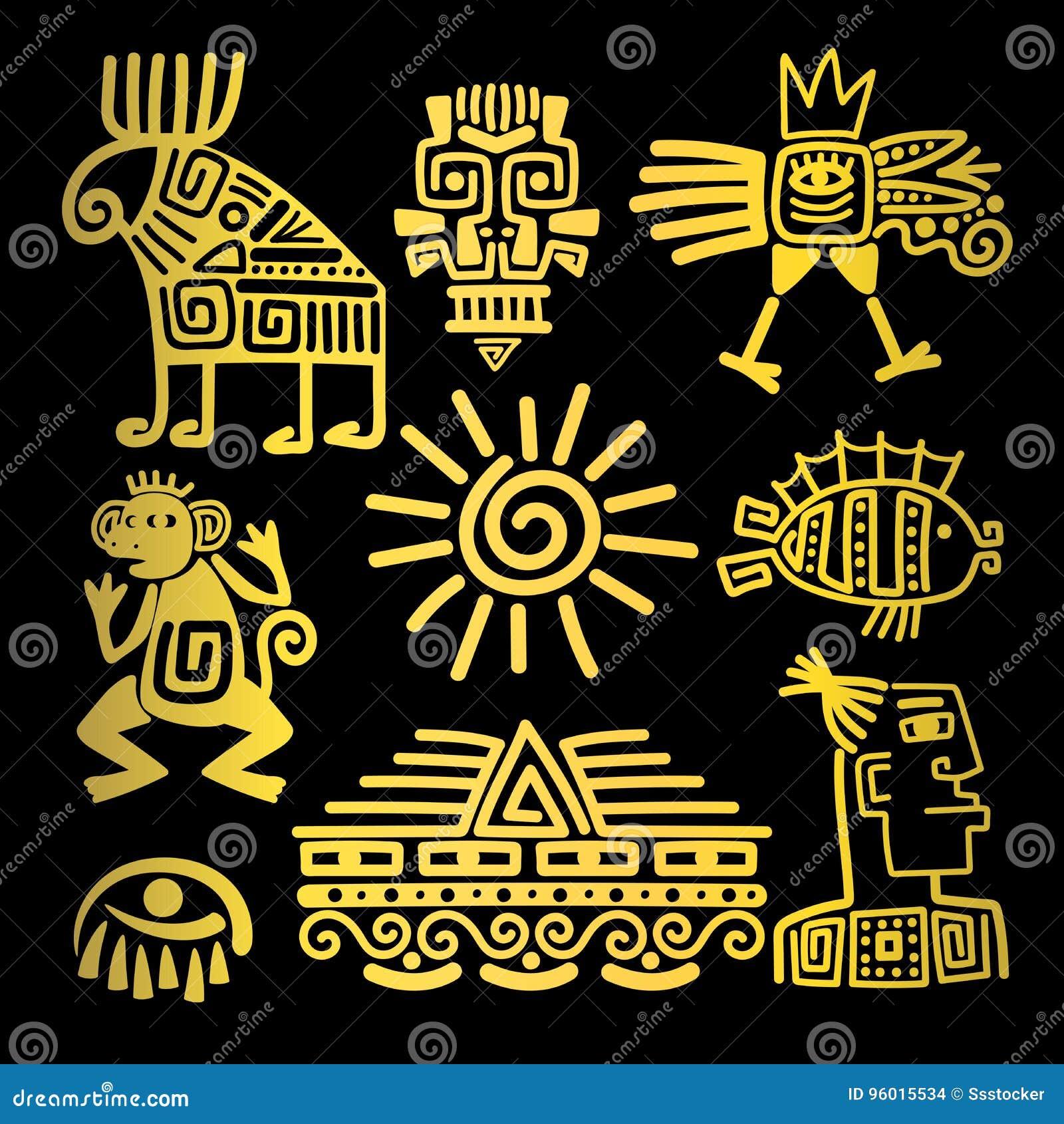 Ícones lineares do totem do ouro do estilo do Maya