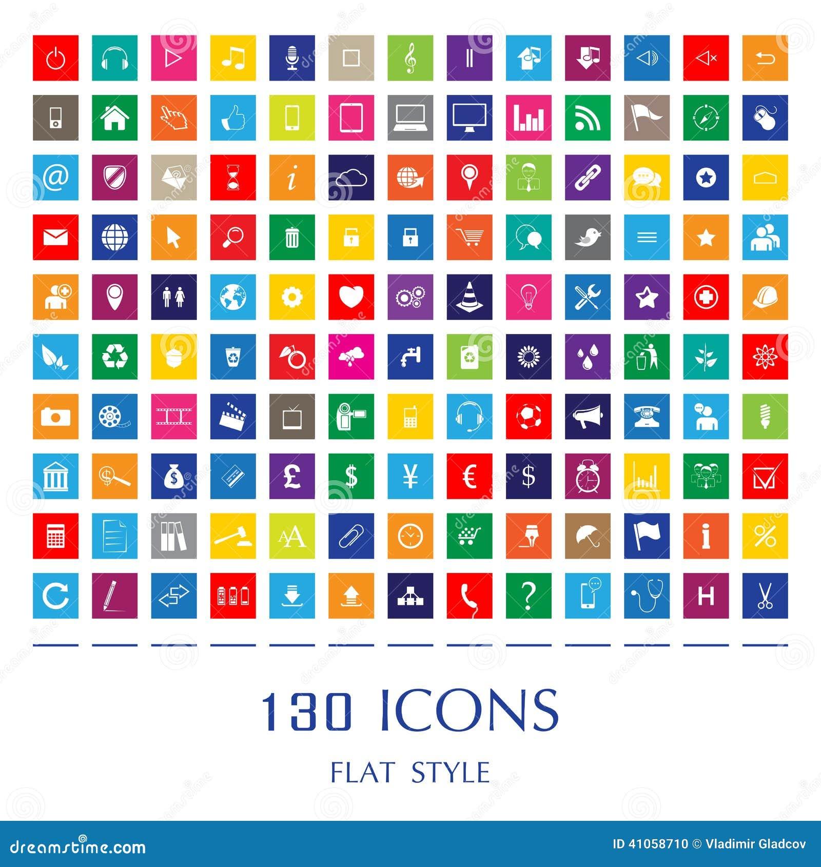 Ícones lisos da Web do estilo