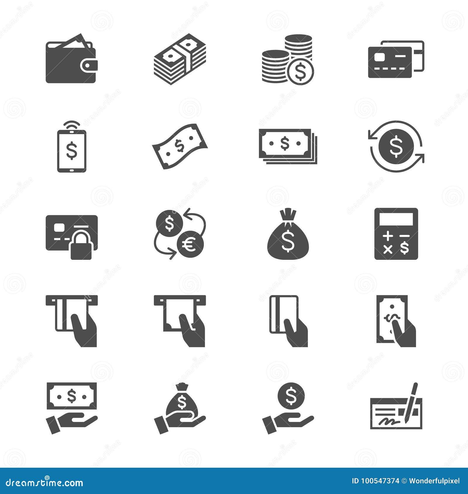 Ícones lisos do dinheiro