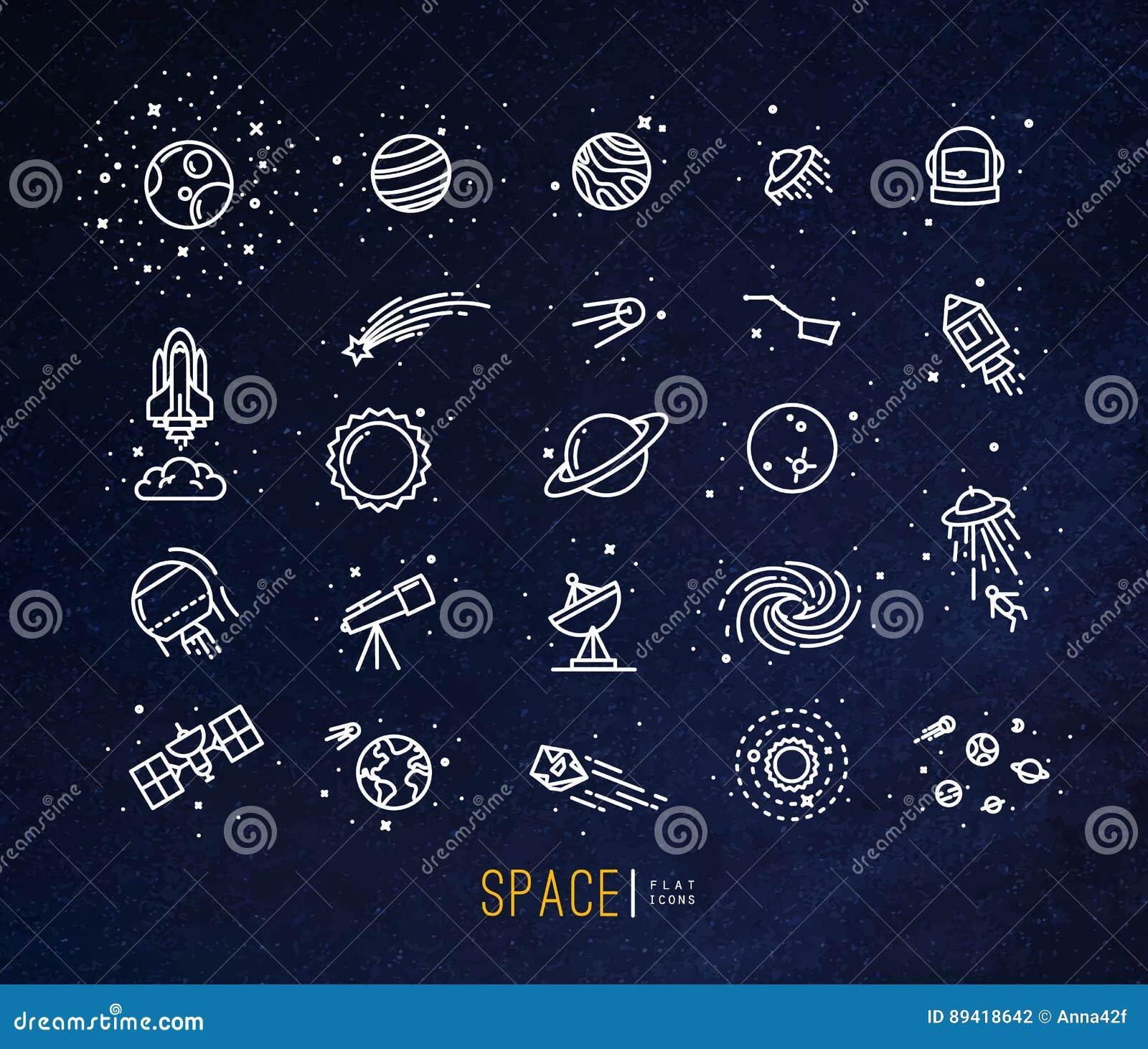 Ícones lisos do espaço azuis