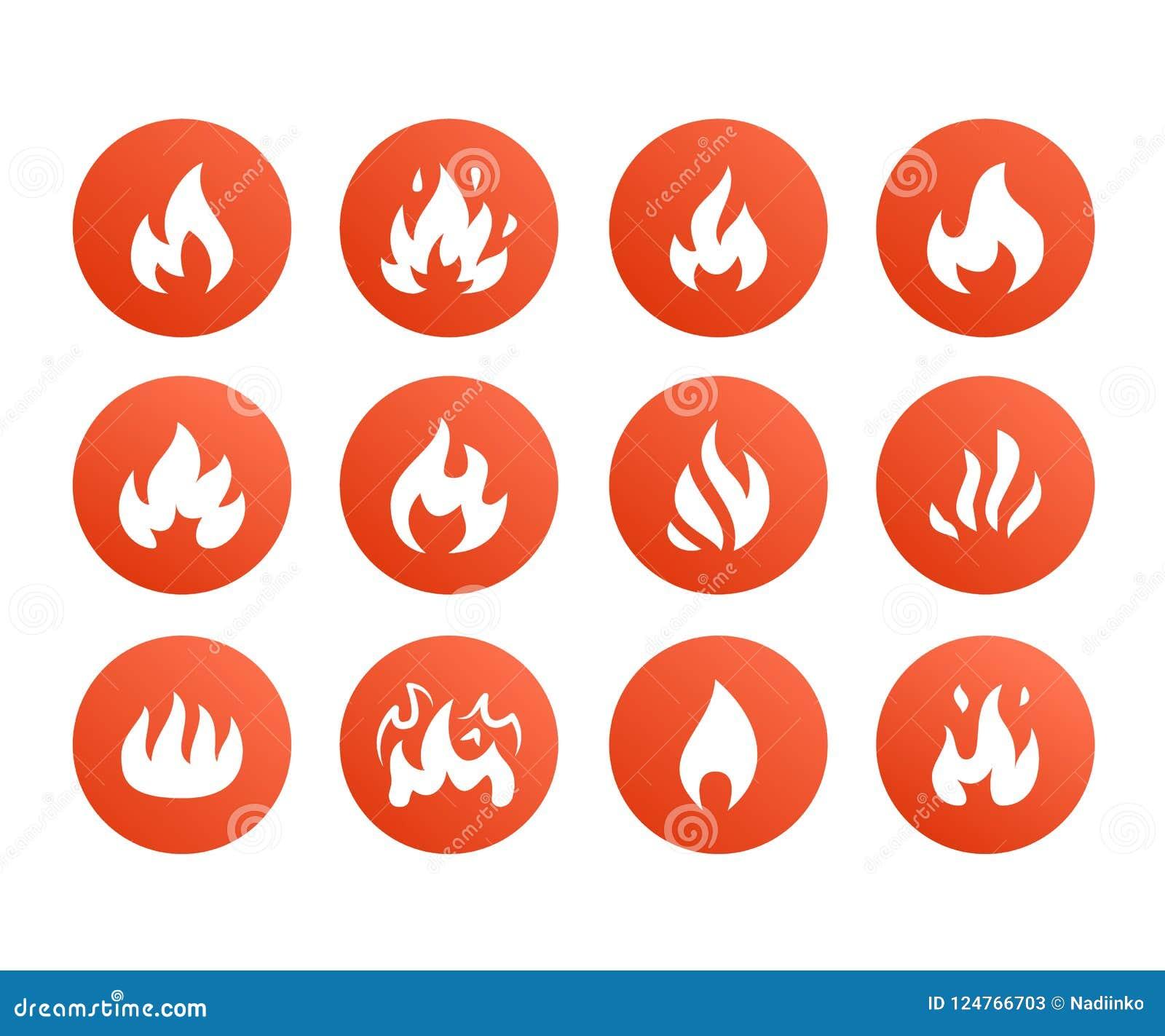 Ícones lisos do glyph do fogo Arda a silhueta das formas, ilustração do vetor da fogueira, sinal de aviso inflamável, cor vermelh