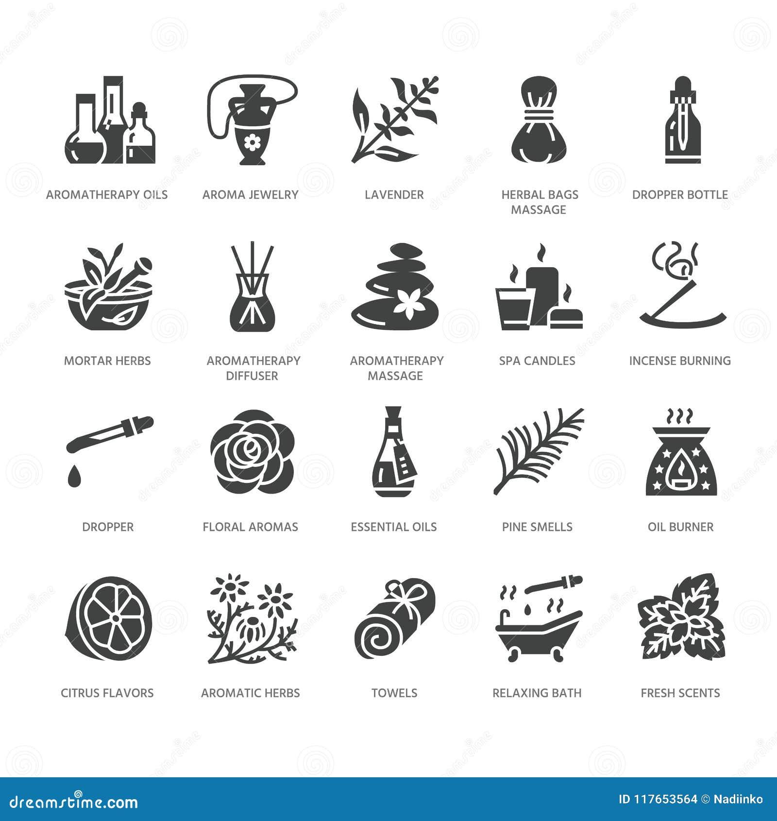 Ícones lisos do glyph do vetor da aromaterapia dos óleos essenciais ajustados Elementos - difusor da terapia do aroma, queimador