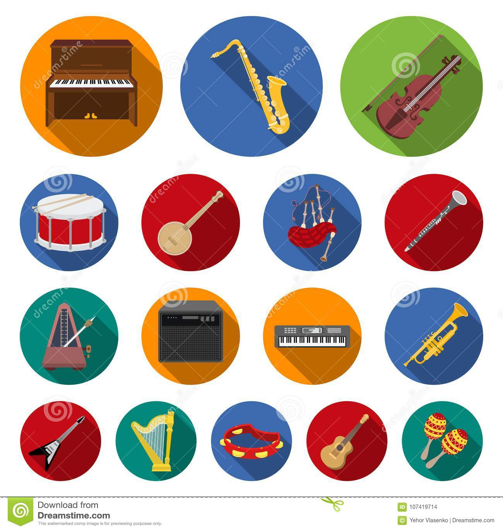 Ícones lisos do instrumento musical na coleção do grupo para o projeto O instrumento da corda e de vento vector a Web conservada