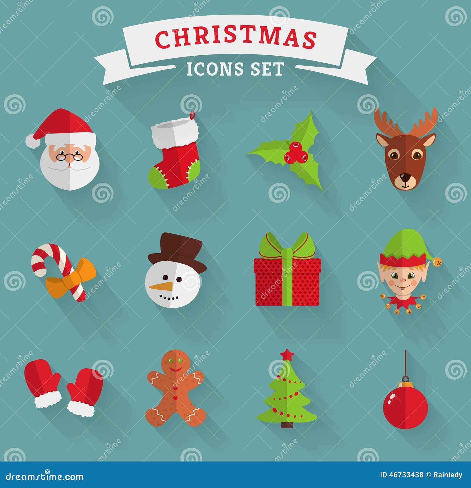Ícones lisos do Natal Grupo do vetor