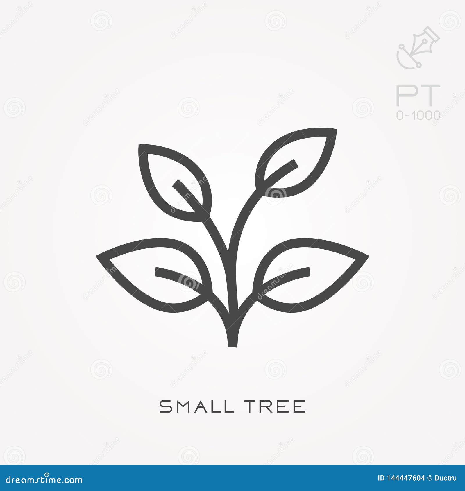 Ícones lisos do vetor com árvore pequena
