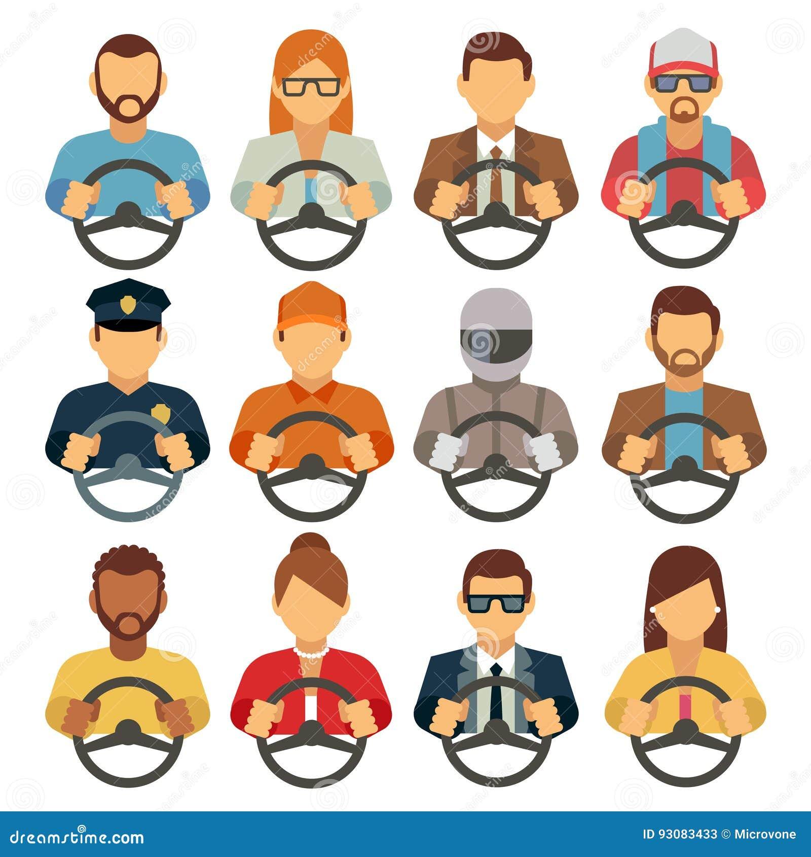 Ícones lisos do vetor dos motoristas do homem e da mulher