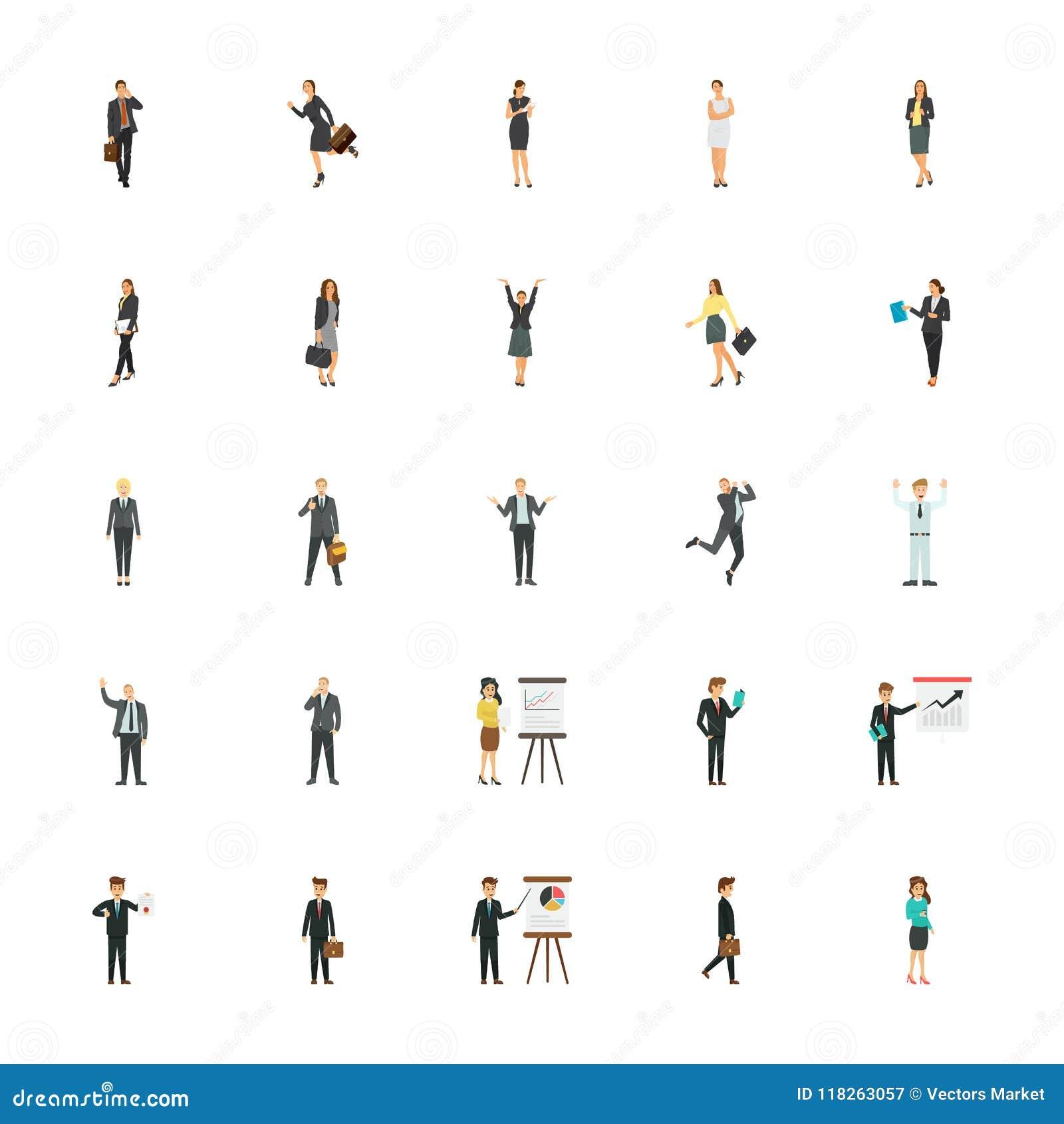 Ícones lisos dos caráteres do negócio para Web site do comércio eletrónico
