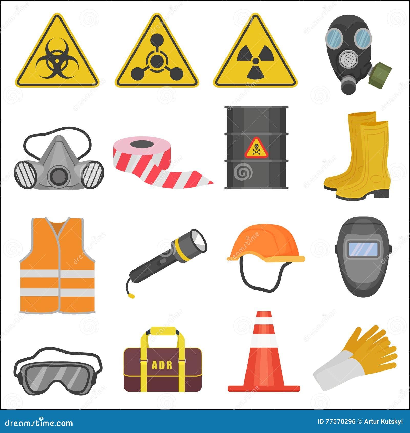 7a7aca8d28982 Ícones lisos industriais do equipamento de segurança do trabalho de trabalho  ajustados Proteção da radiação e