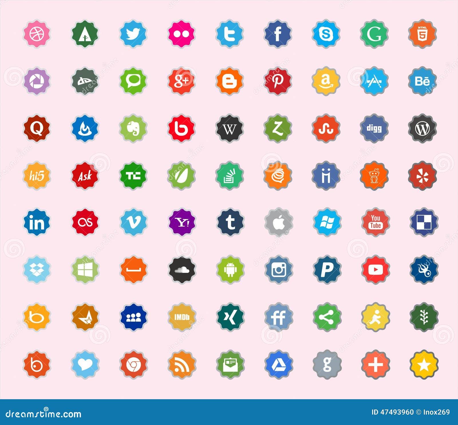 Ícones lisos sociais da cor dos meios e da rede