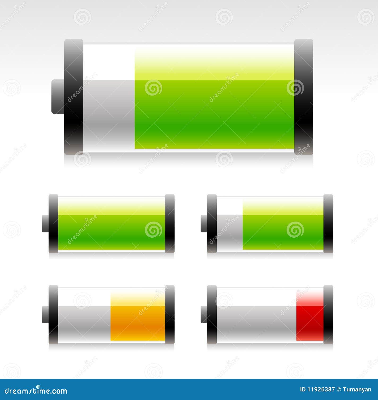 Ícones lustrosos da bateria.
