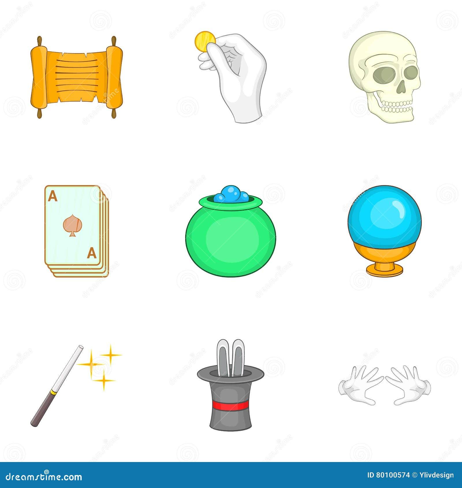 Ícones mágicos ajustados, estilo dos desenhos animados