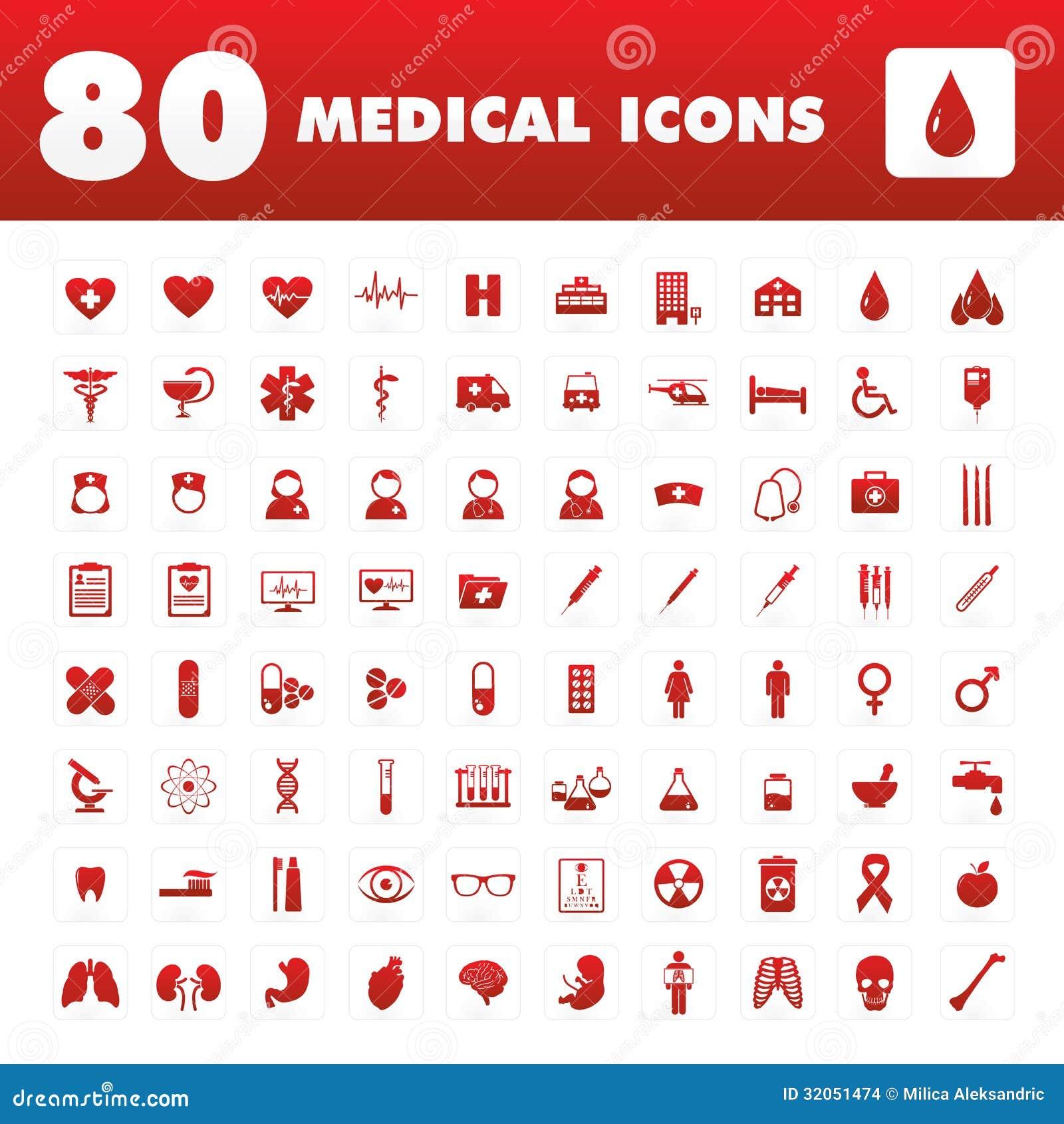 80 ícones médicos