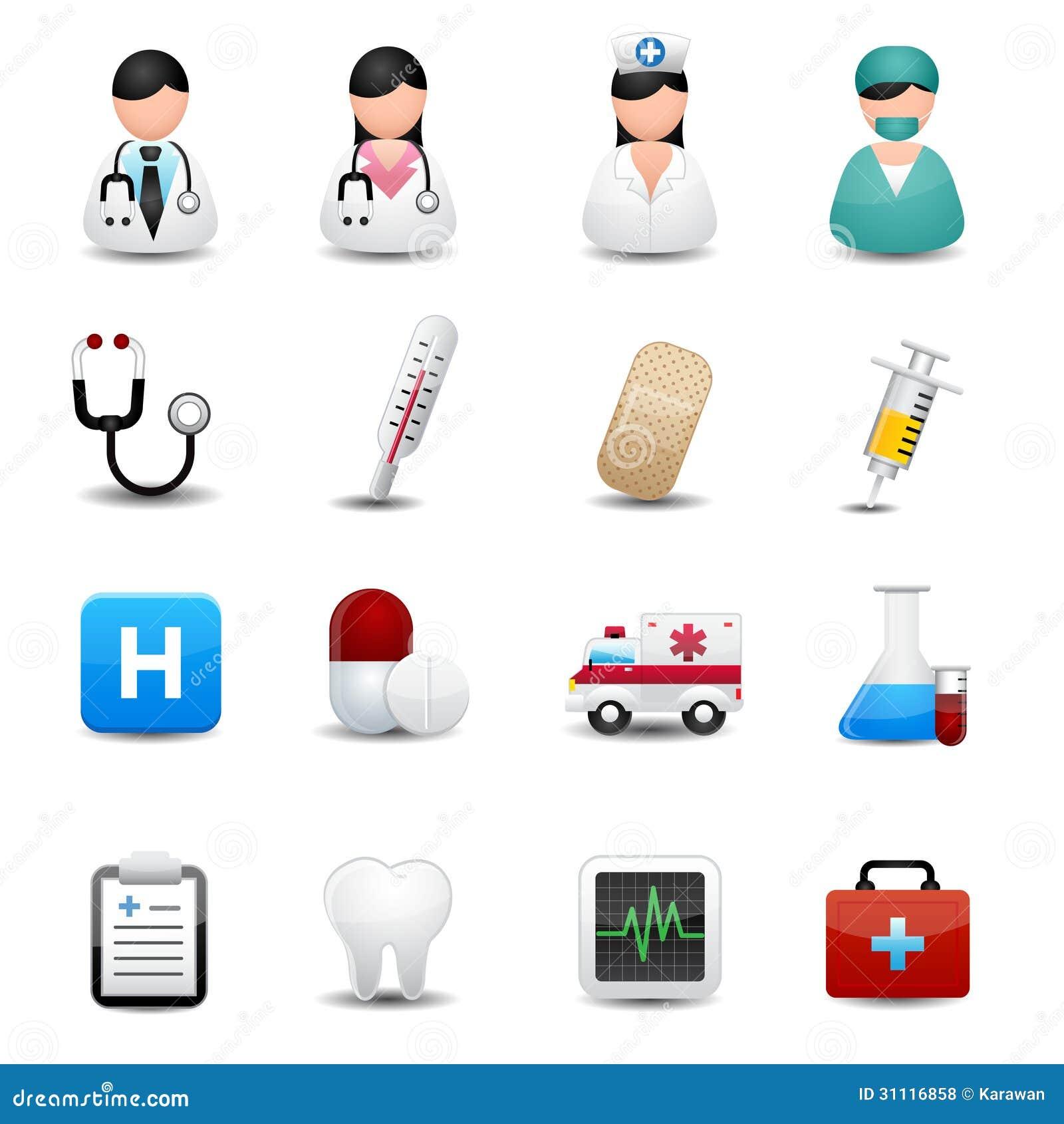 Ícones médicos ajustados