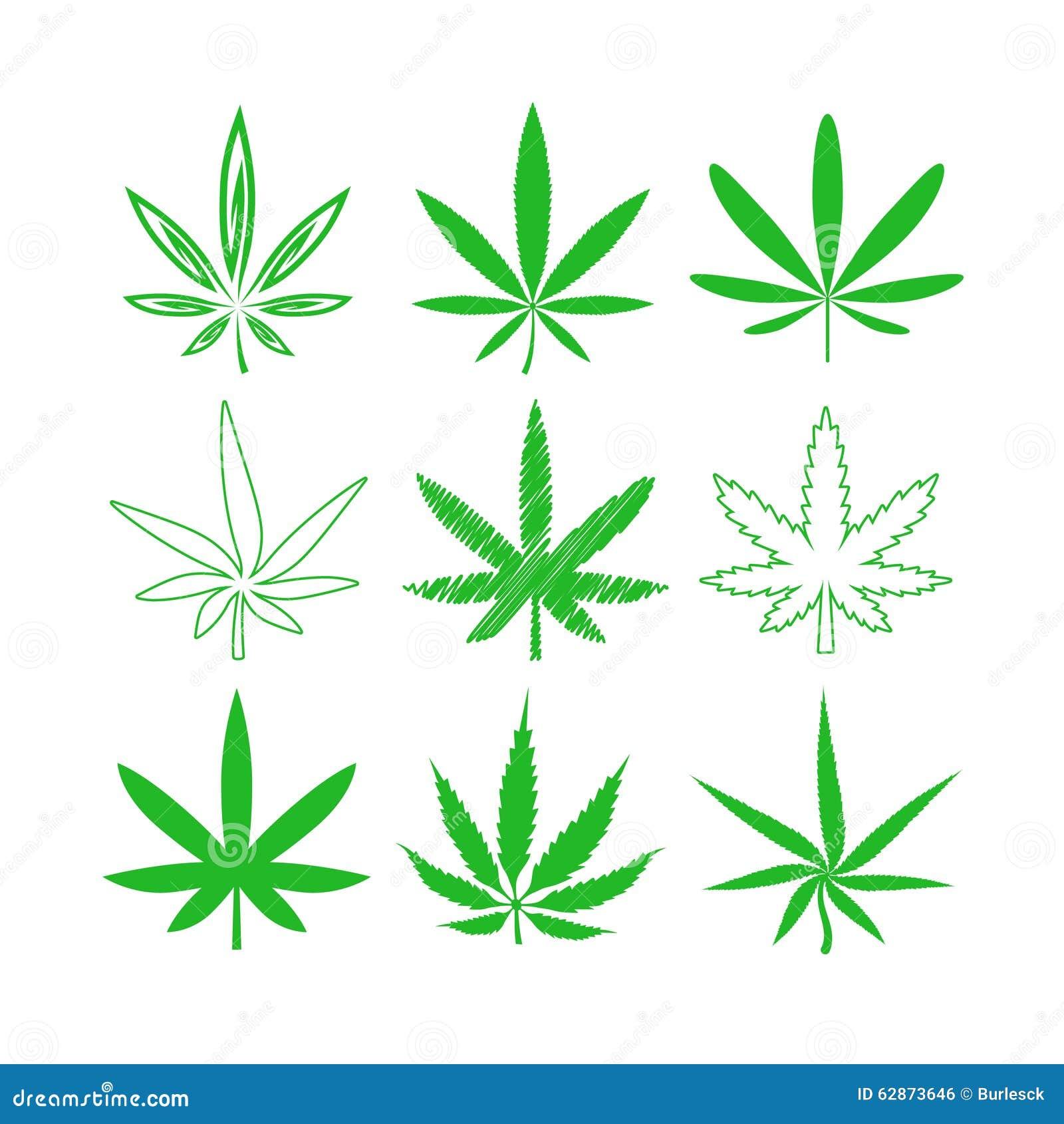 Ícones médicos do vetor da marijuana ou do cannabis ajustados