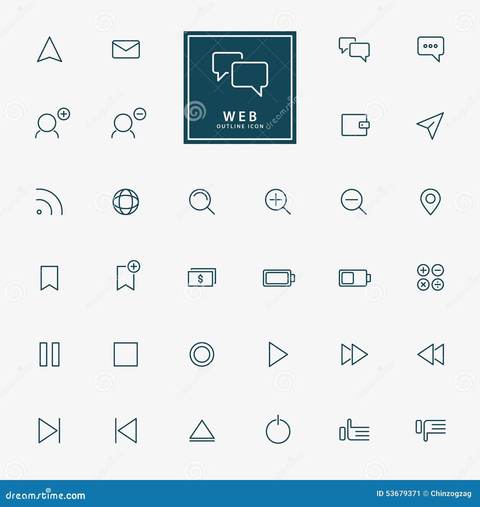 32 ícones mínimos do esboço da Web