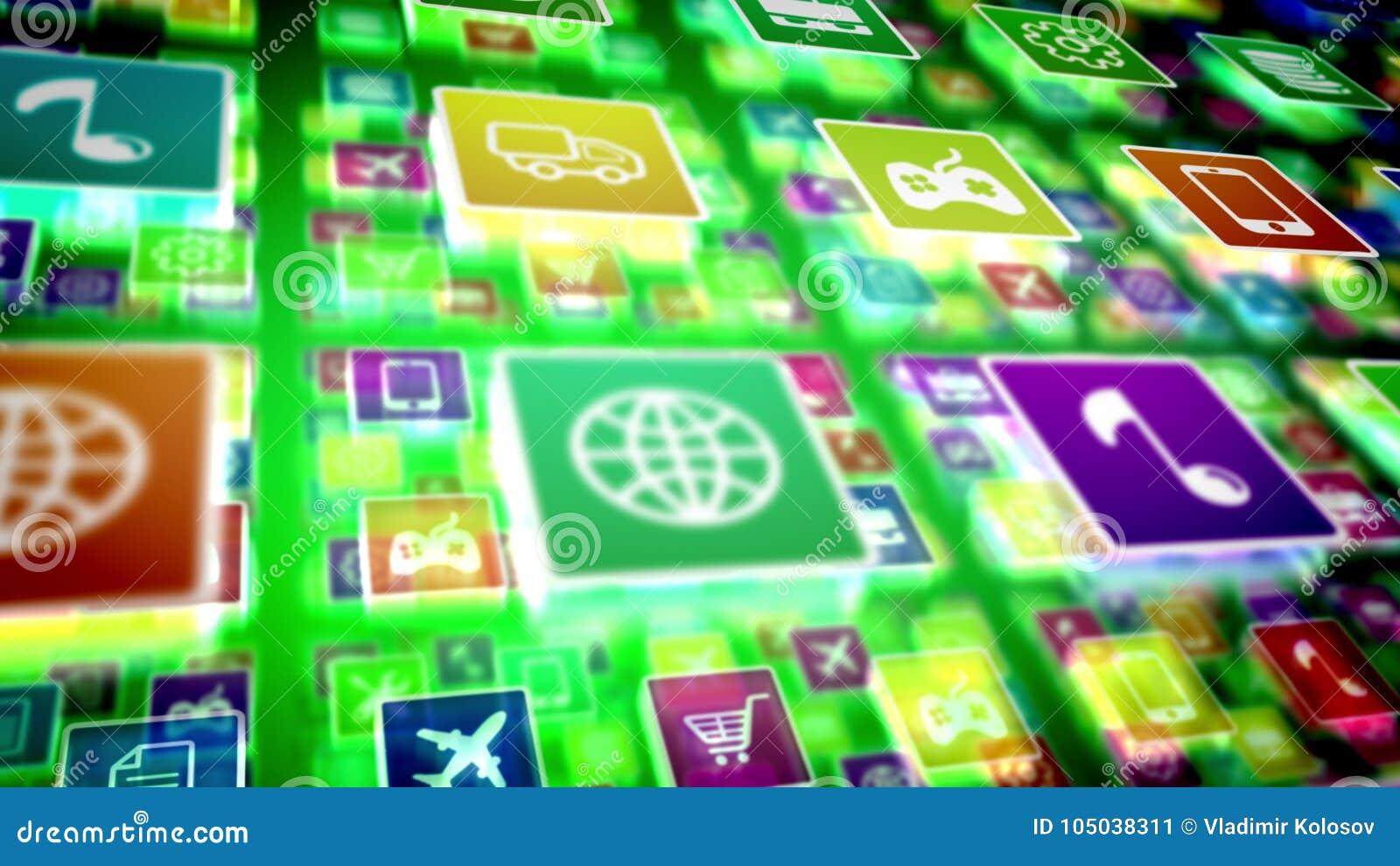 Ícones móveis de projeção da aplicação