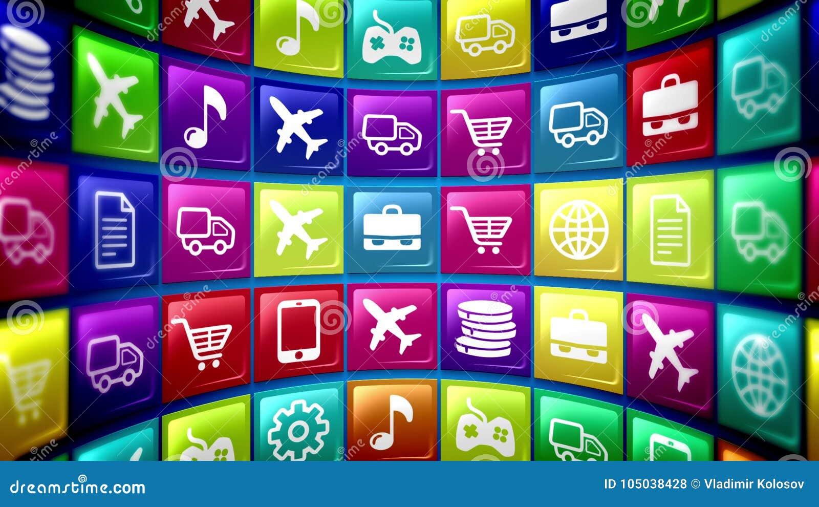 Ícones móveis esféricos da aplicação