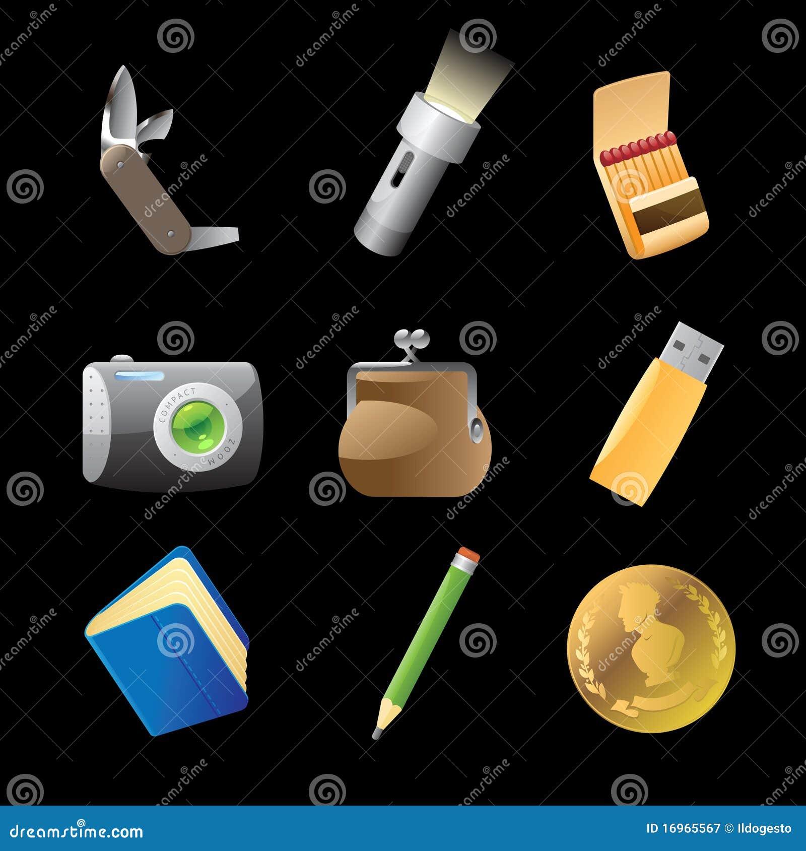 902f22fa9 Ícones Para Pertences Pessoais Ilustração do Vetor - Ilustração de ...