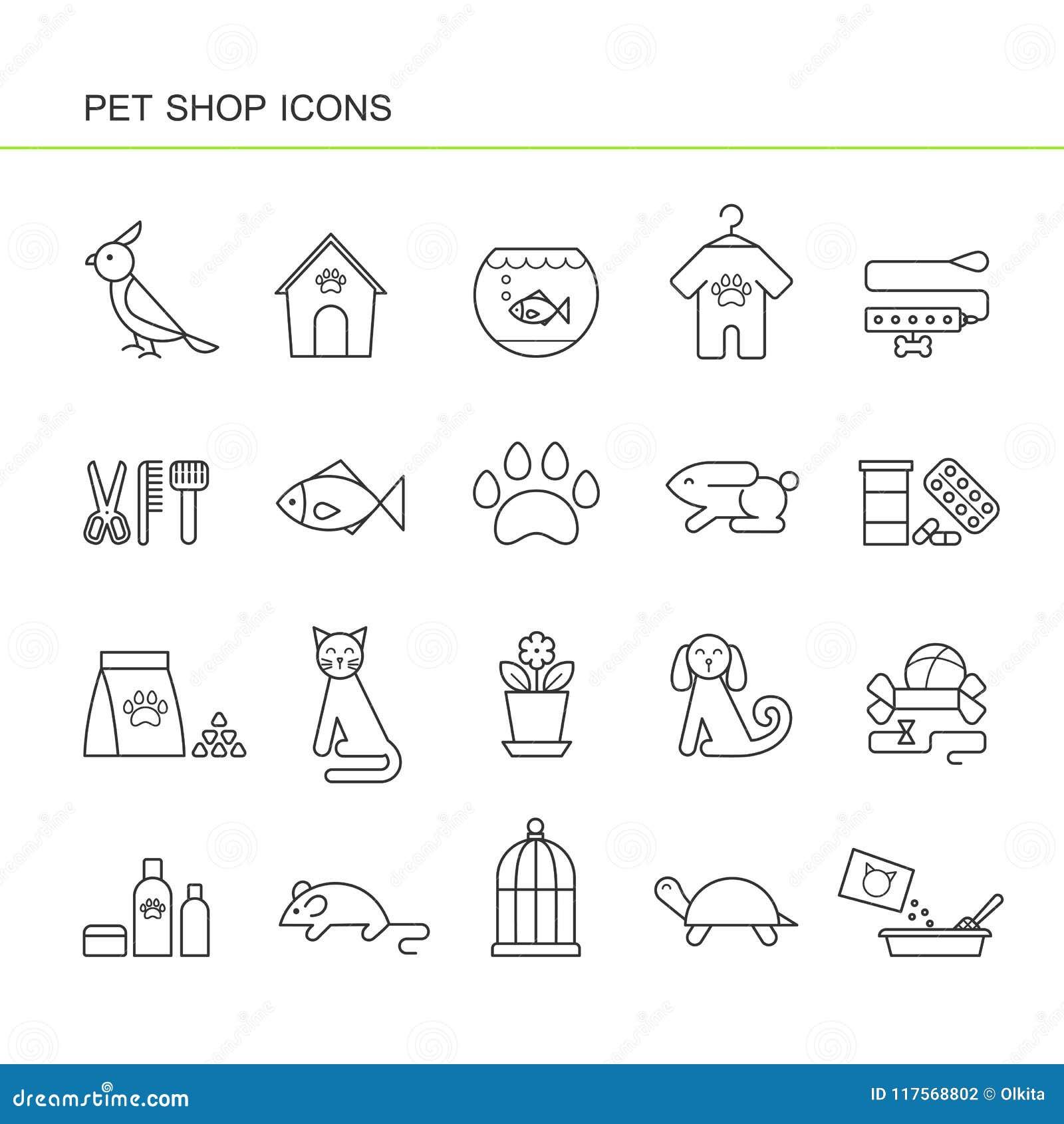 Ícones pretos isolados da coleção do esboço do cão, gato, papagaio, peixe, aquário, alimento animal, colar, tartaruga, canil, acc