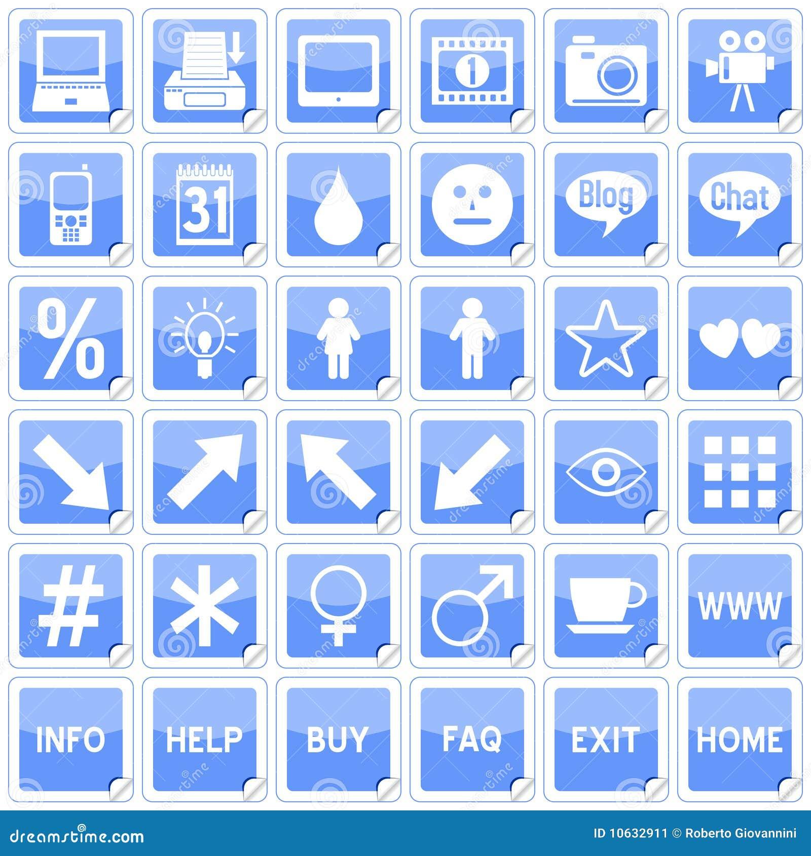 Ícones quadrados azuis das etiquetas [4]