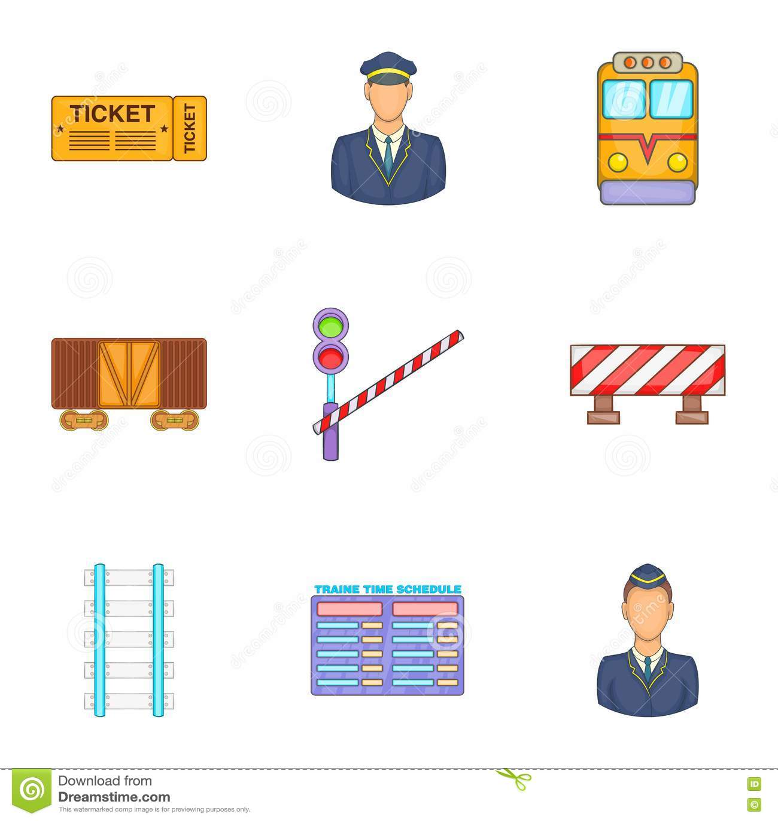 Ícones Railway ajustados, estilo dos desenhos animados