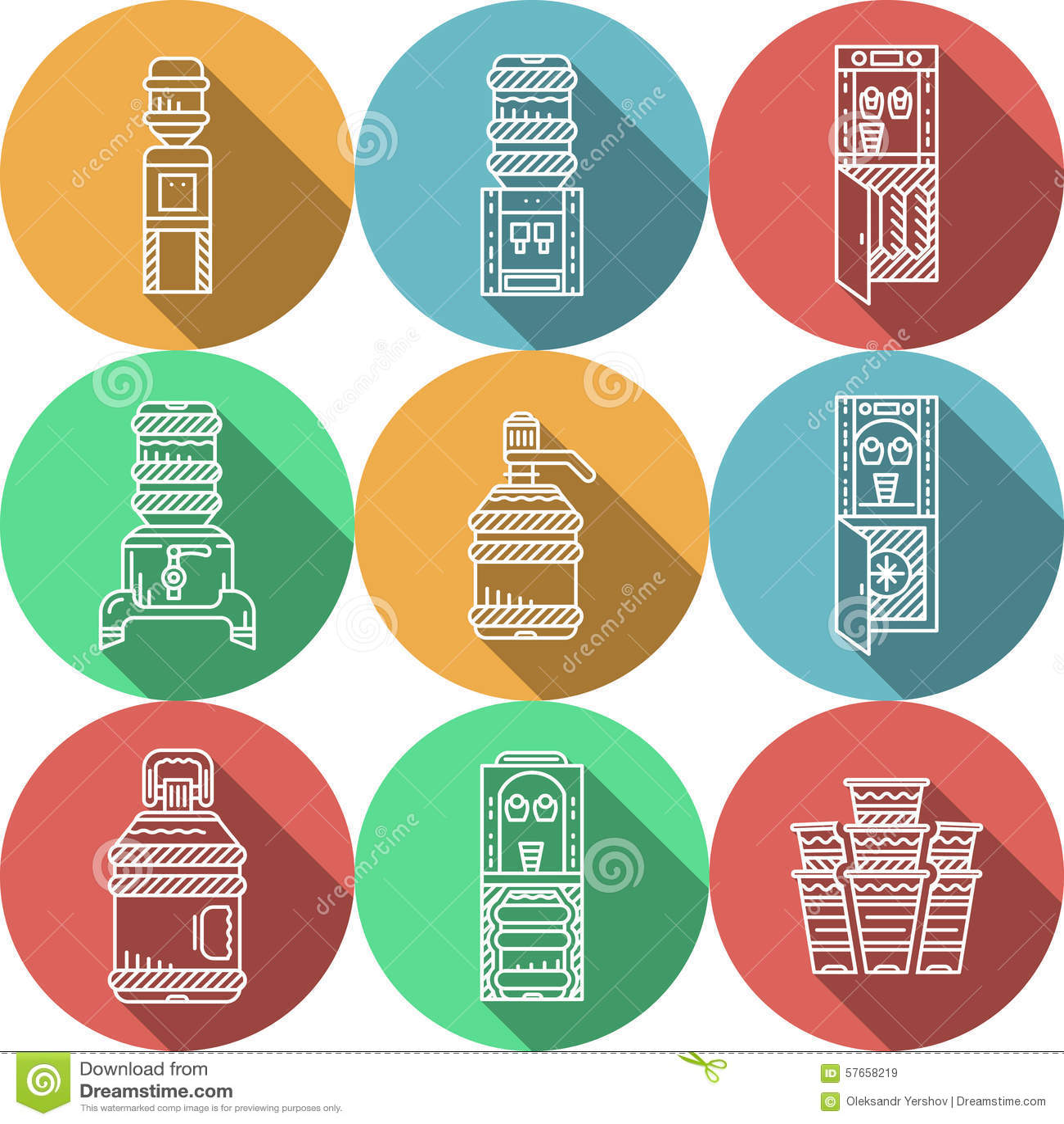 Ícones redondos lisos para refrigeradores de água