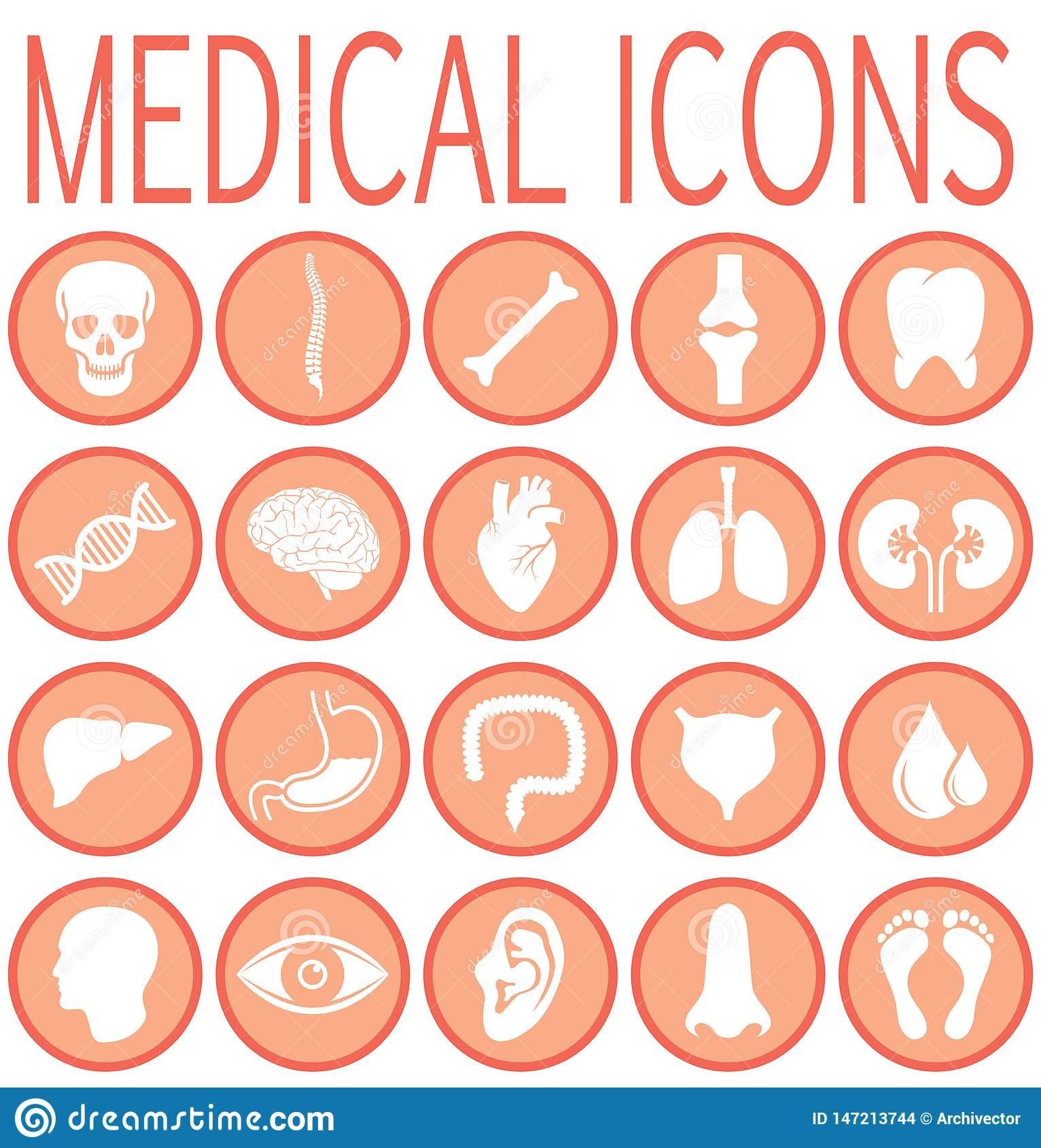 Ícones redondos médicos ajustados