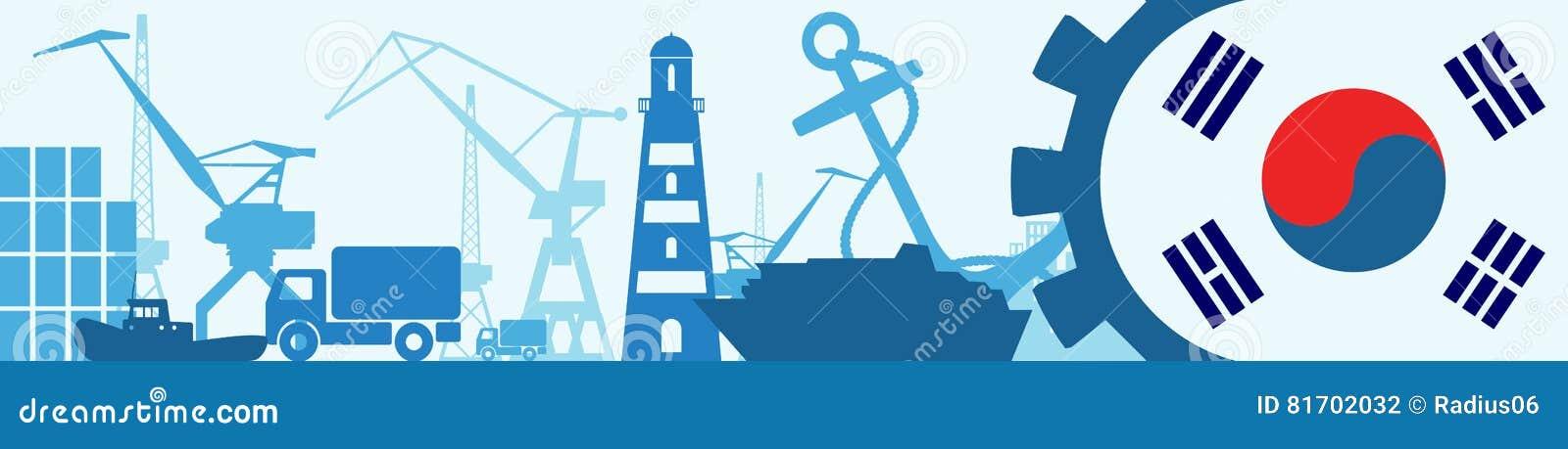 Ícones relativos do porto da carga ajustados Bandeira de Coreia na engrenagem