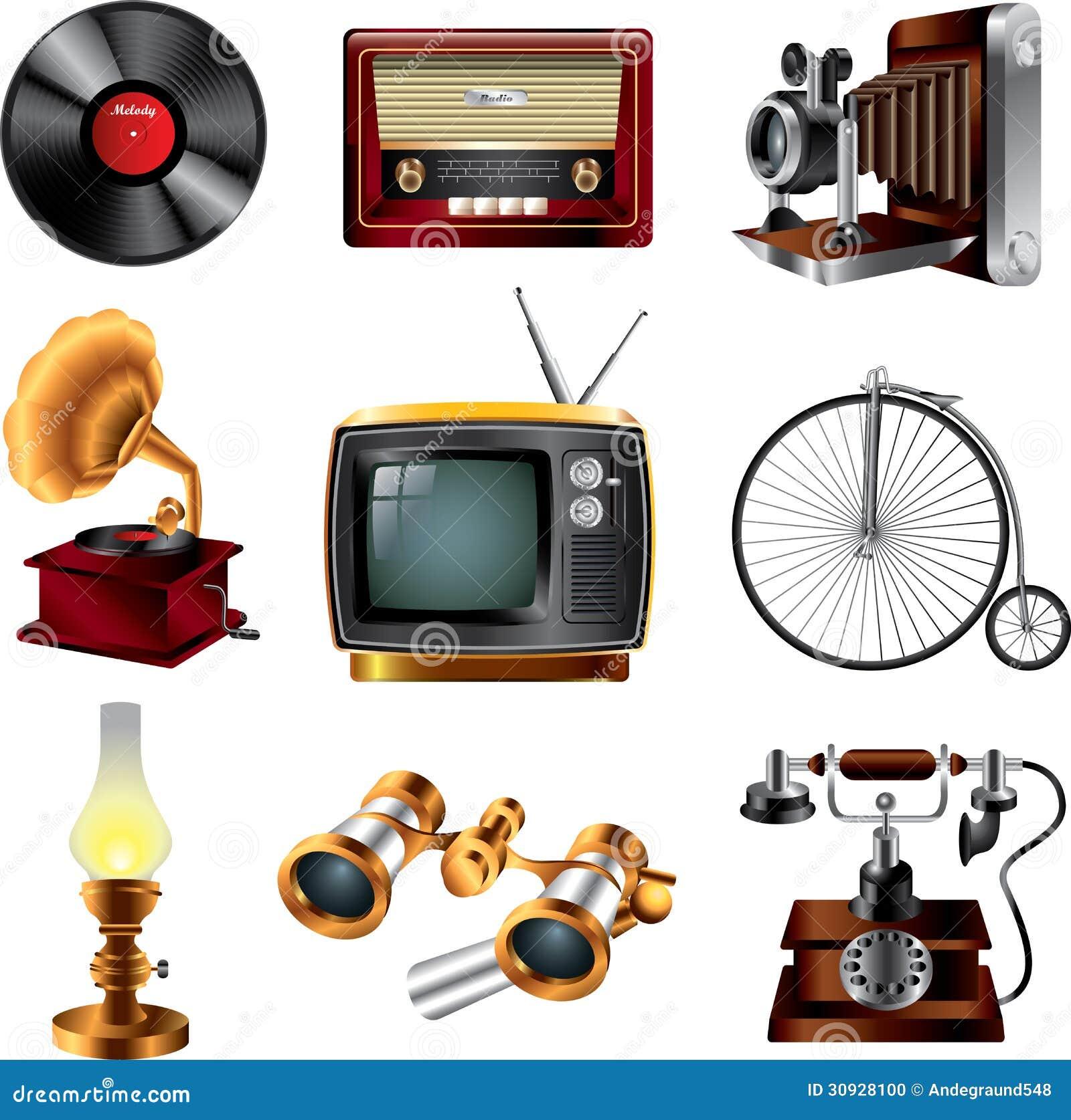 Cones retros dos objetos ilustra o do vetor ilustra o de decor 30928100 - Objetos vintage ...