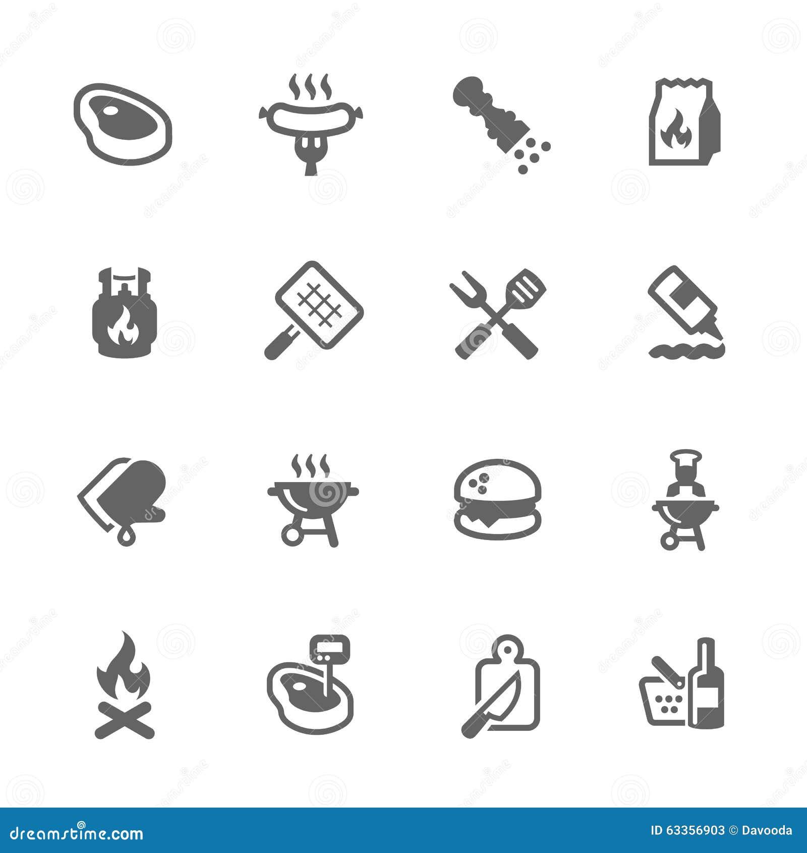 Ícones simples do assado