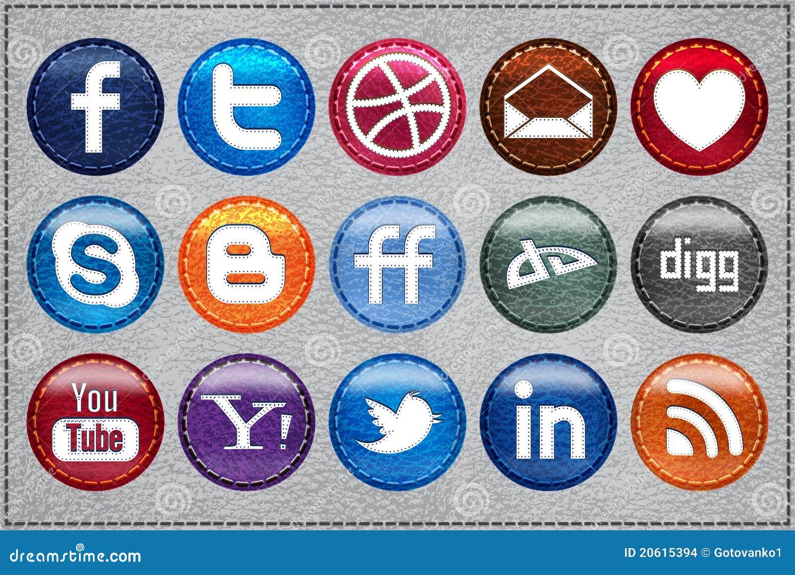 Ícones sociais de couro dos media