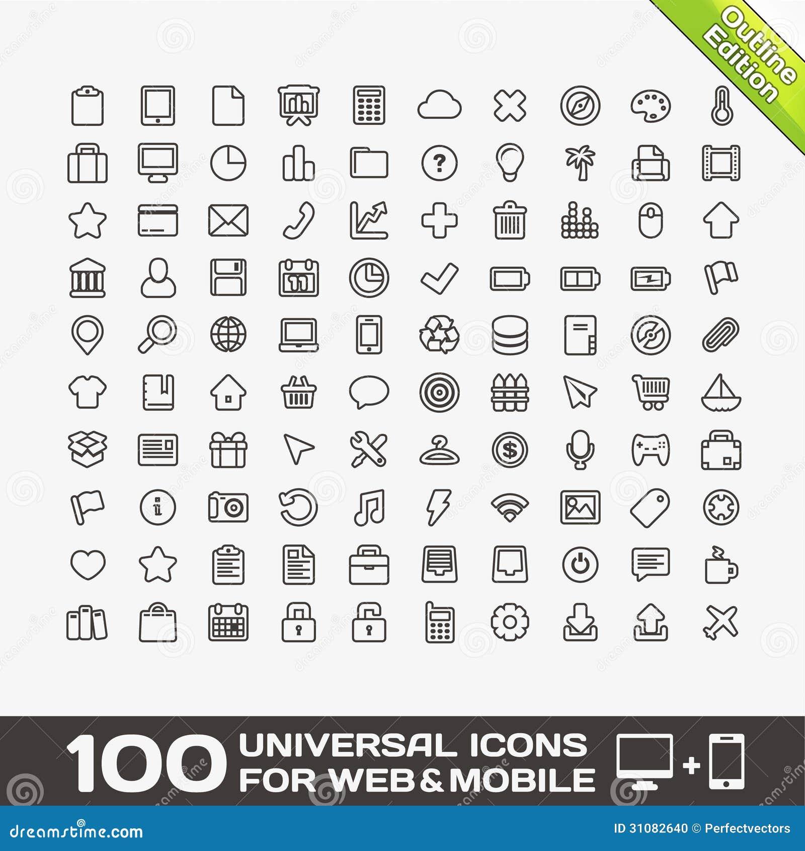 100 ícones universais para a Web e o móbil