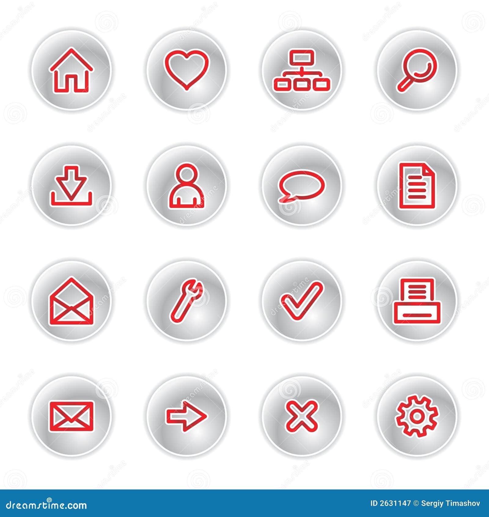 Ícones vermelhos do Web