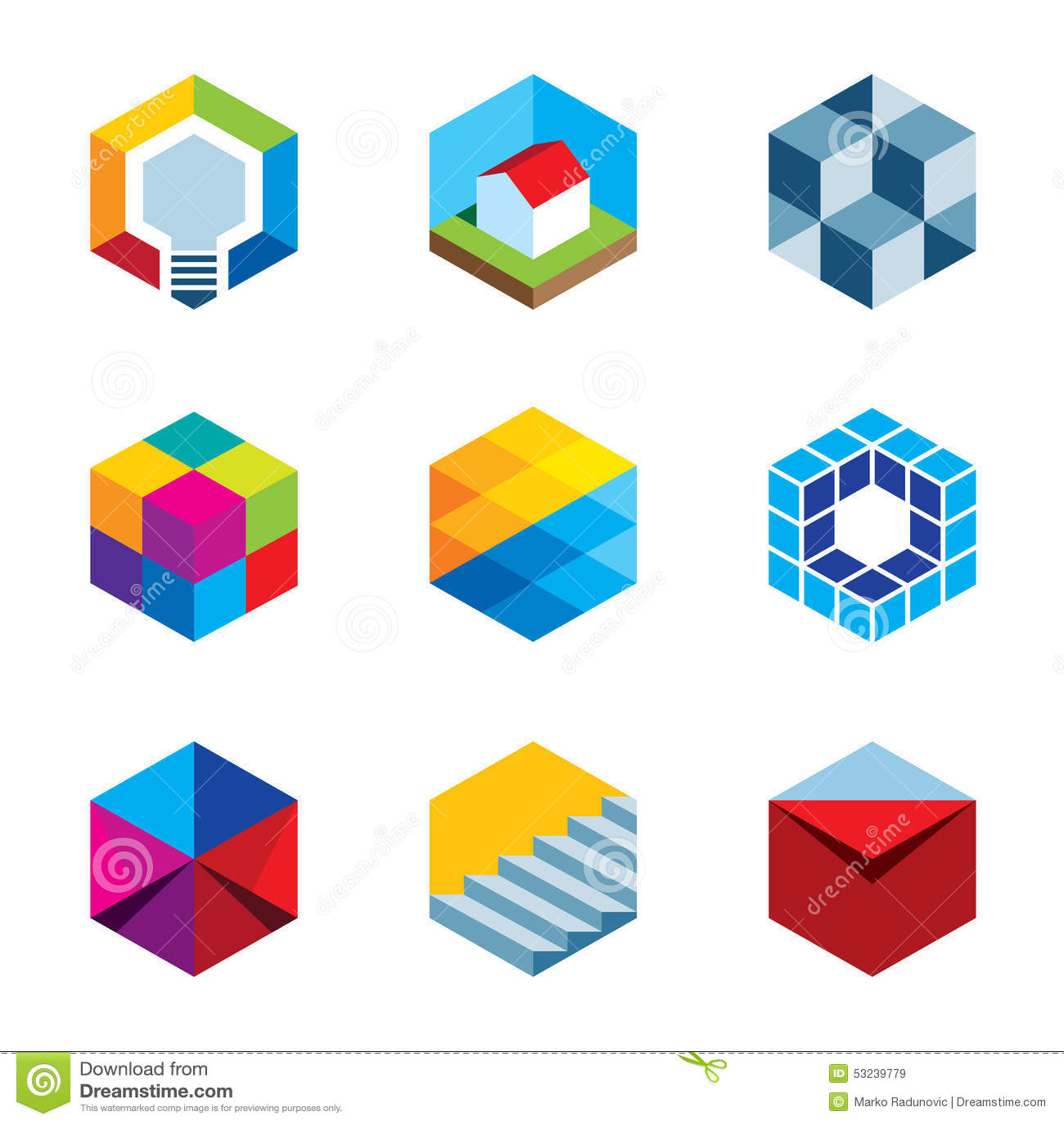 Ícones virtuais futuros do logotipo do cubo do jogo dos bens imobiliários da construção da inovação