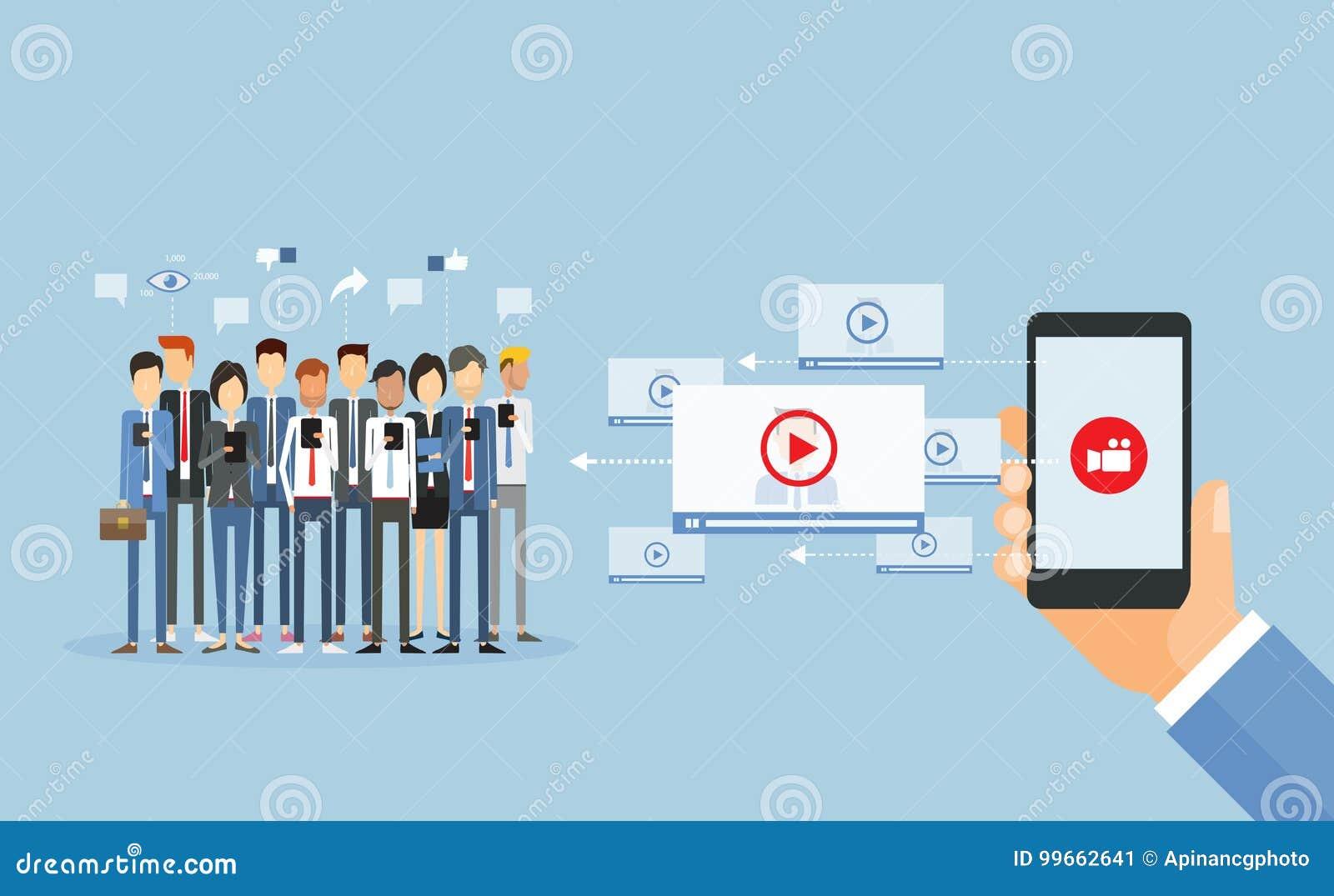 Índice video do mercado do negócio em linha e partilha video video
