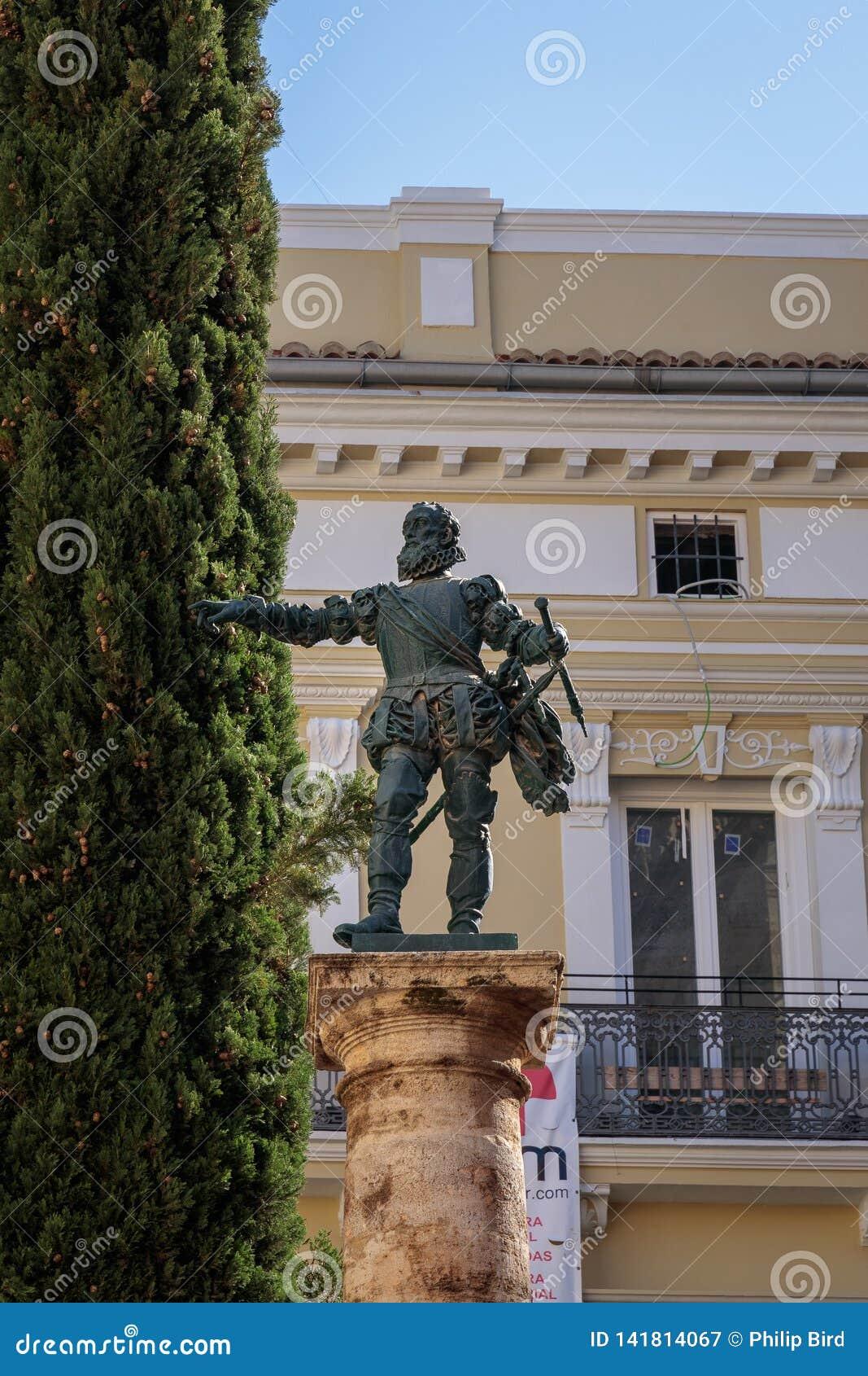 Άγαλμα Conquistador Francisco de Pizarro σε Placa de Manises Βαλένθια Ισπανία στις 25 Φεβρουαρίου,