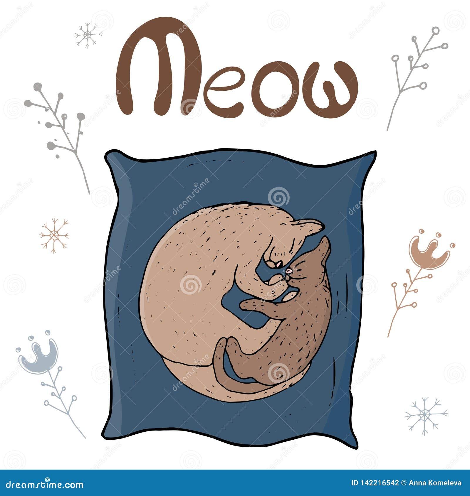 Άνετη διανυσματική απεικόνιση - γάτα και γατάκι