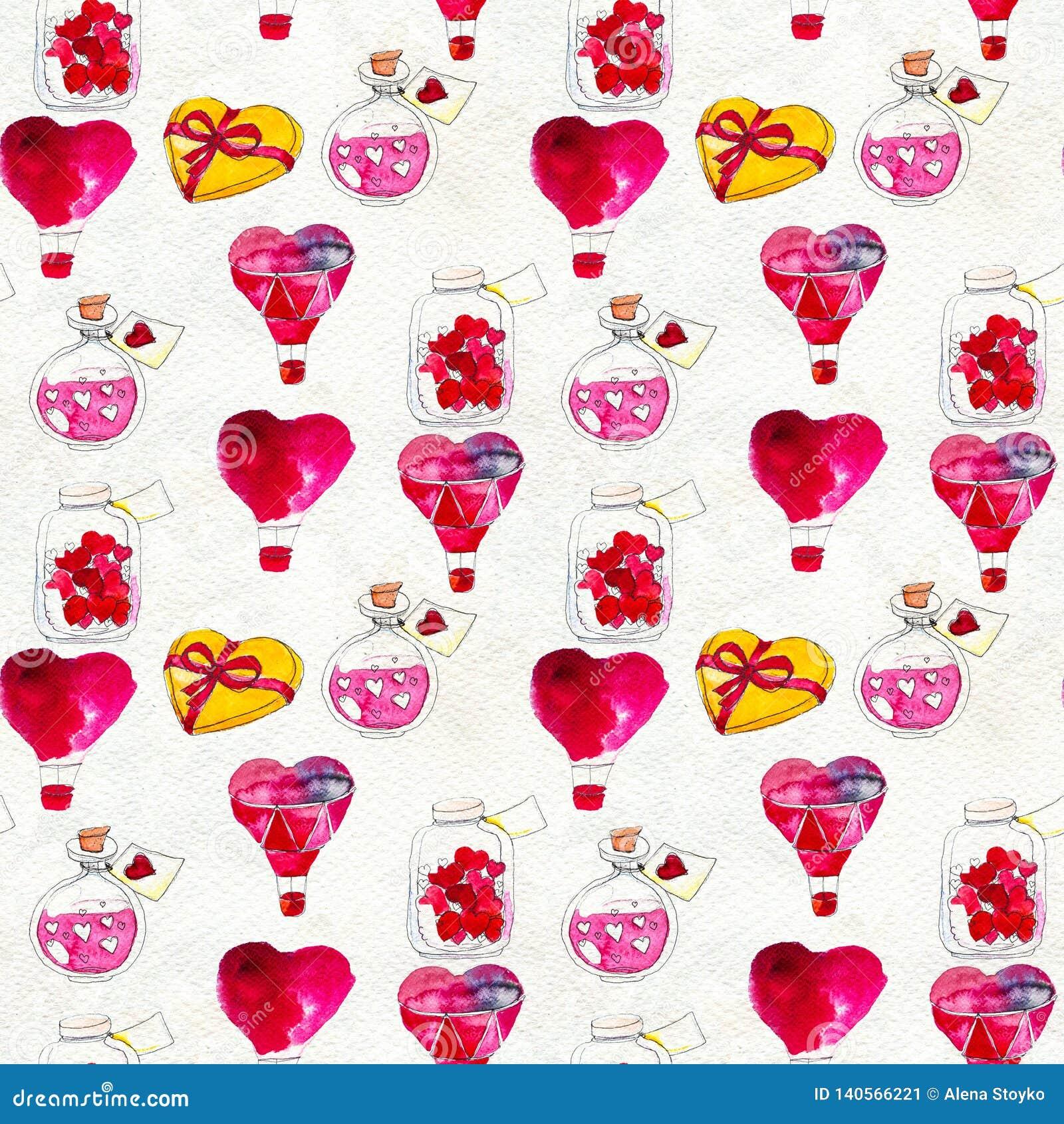 Άνευ ραφής βασισμένος σε μια απεικόνιση watercolor Μπαλόνι υπό μορφή καρδιάς που πετά στον ουρανό