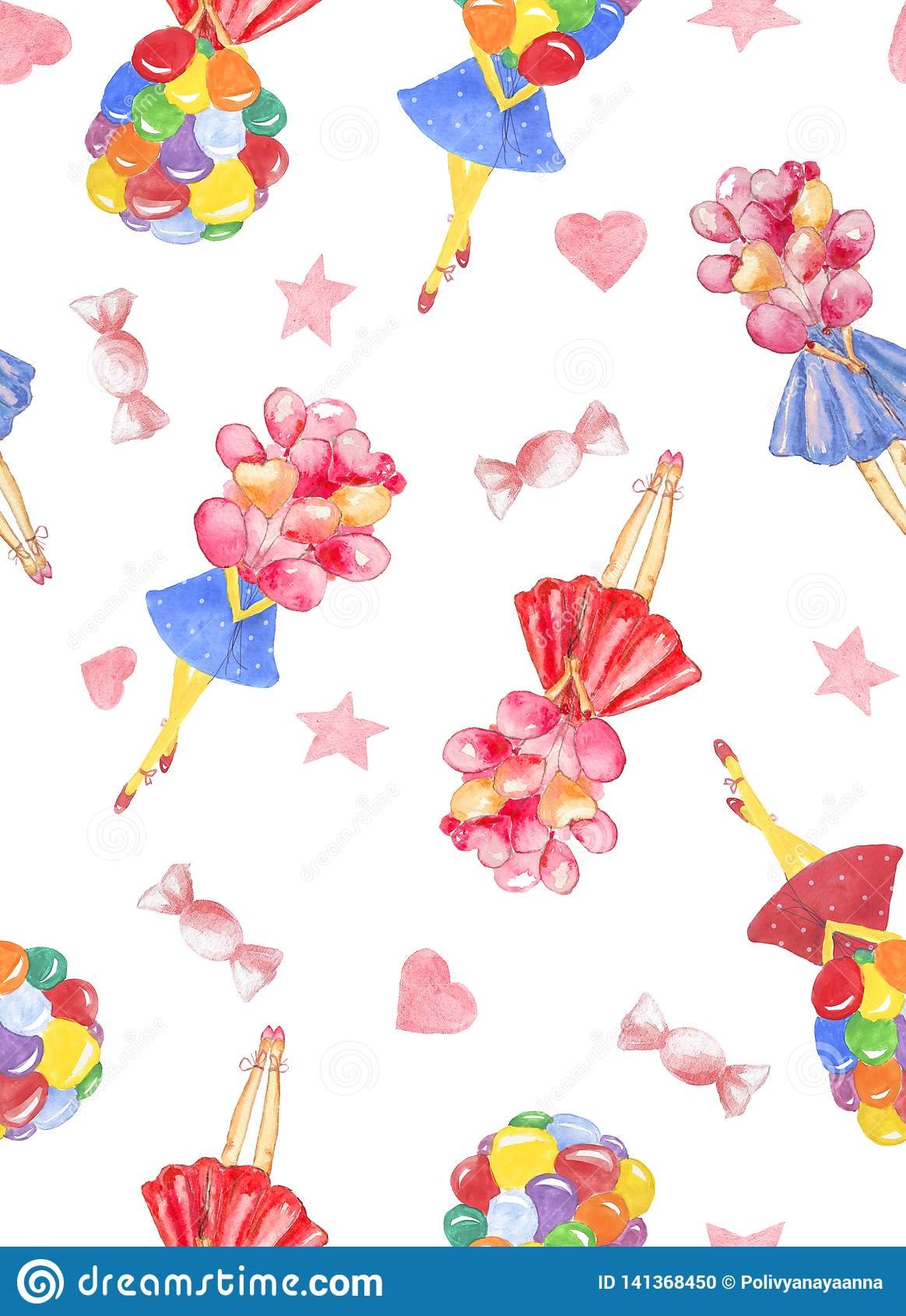Άνευ ραφής σχέδιο Watercolor με την ανθοδέσμη εκμετάλλευσης κοριτσιών του ζωηρόχρωμου μπαλονιού