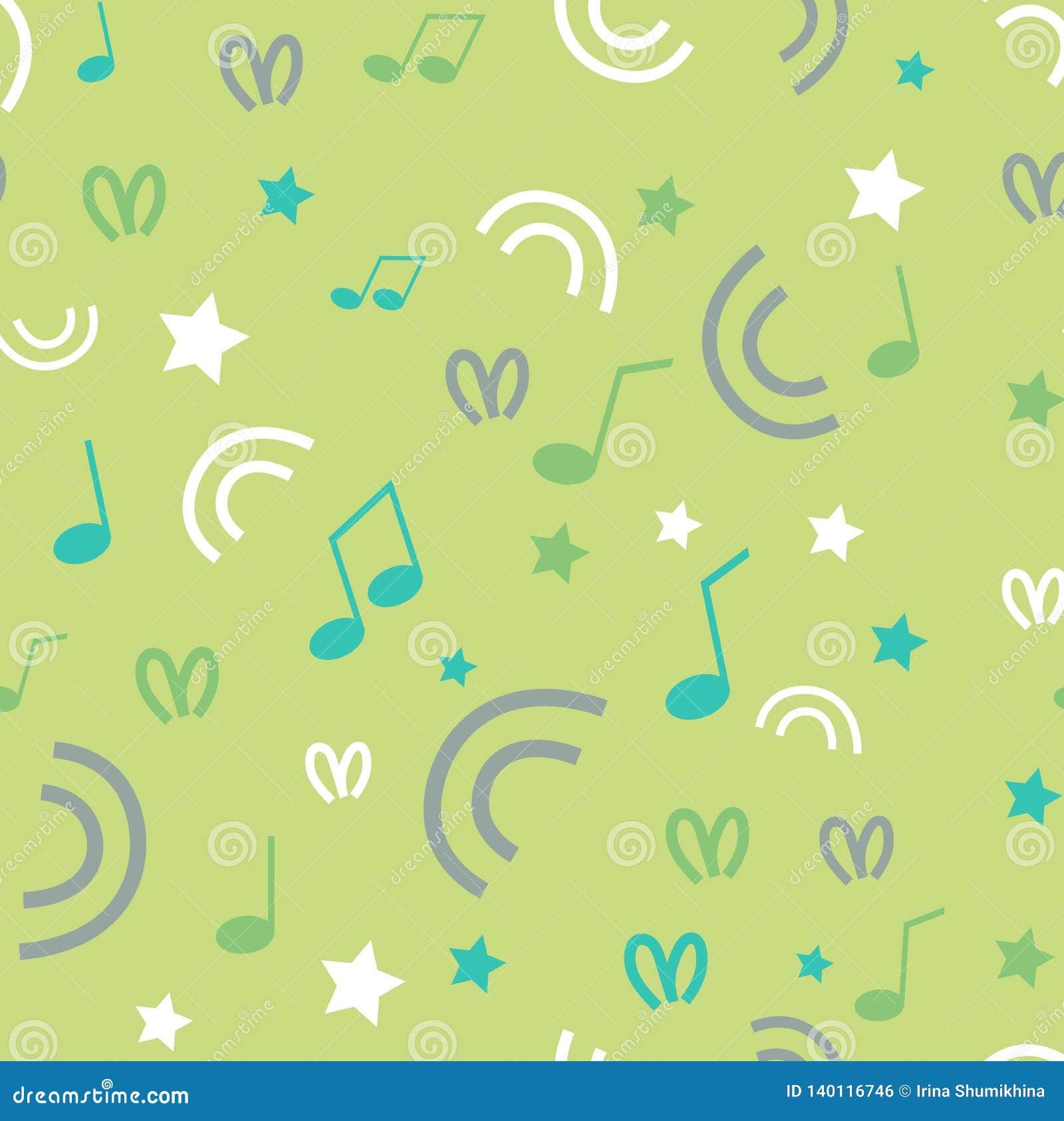 Άνευ ραφής υπόβαθρο με τα αστέρια, στρόβιλοι, σημεία, μουσικές νότες στο πράσινο υπόβαθρο κρητιδογραφιών Σχέδιο ή ταπετσαρία υφάσ