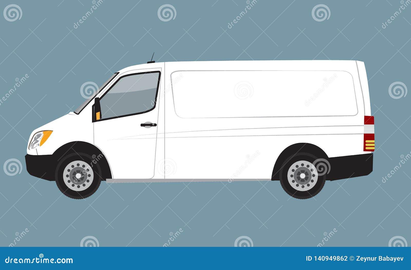 Άσπρη χλεύη επιχειρησιακών φορτηγών φορτίου επάνω για το εμπορικό σήμα και την εταιρική ταυτότητα Freight Mini Van Vehicle επίπεδ