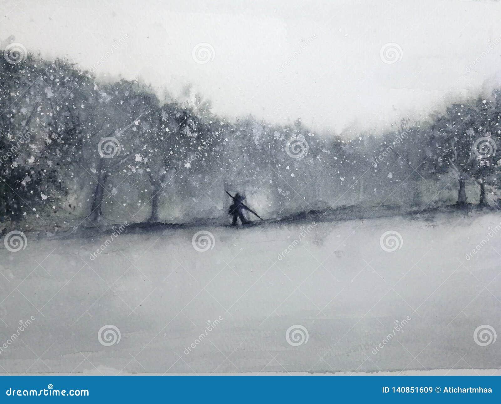 Άτομο τοπίων Watercolor που περπατά μέσω του δάσους στη θύελλα χιονιού Παραδοσιακός Ασιάτης ύφος τέχνης της Ασίας