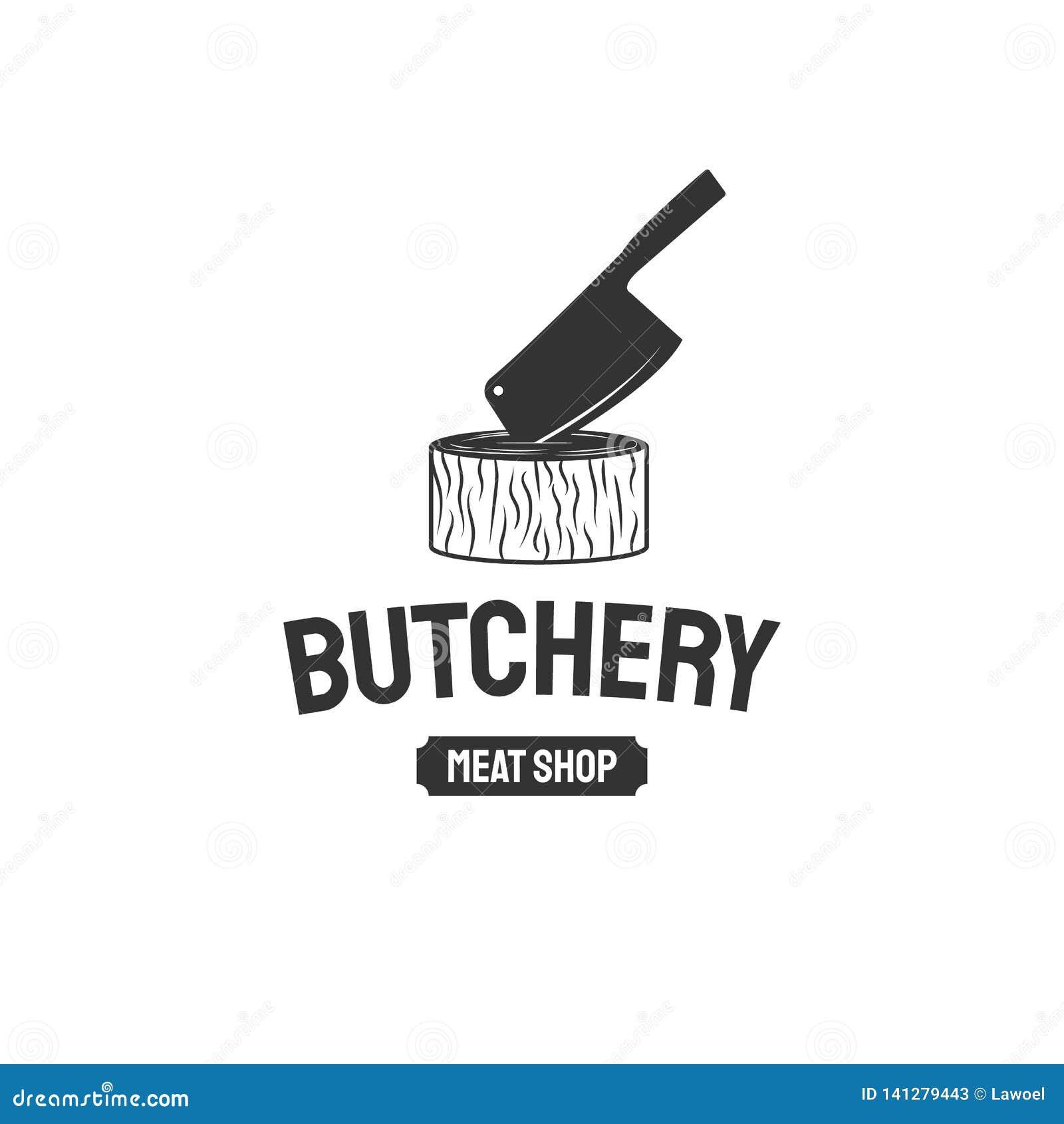 Έμβλημα καταστημάτων χασάπηδων Στοιχείο σχεδίου διαφήμισης καταστημάτων κρεοπωλείων Τυπογραφία καταστημάτων κρέατος Διανυσματική